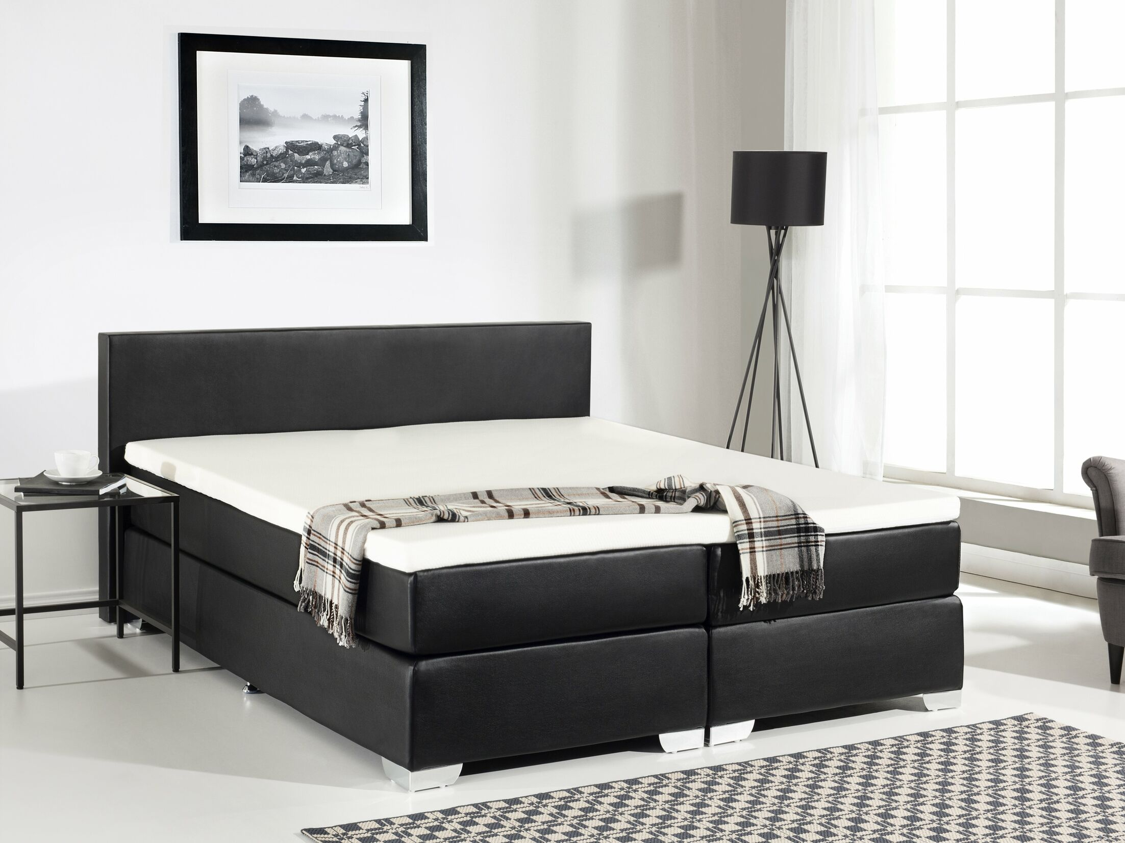 Gaskill Upholstered Platform Bed with Mattress Size: Queen, Color: Black
