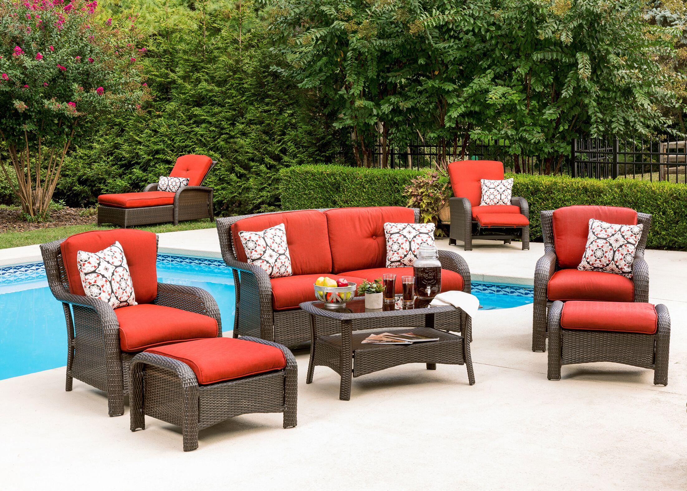 Billington 6 Piece Sofa Set with Cushions Fabric: Crimson Red