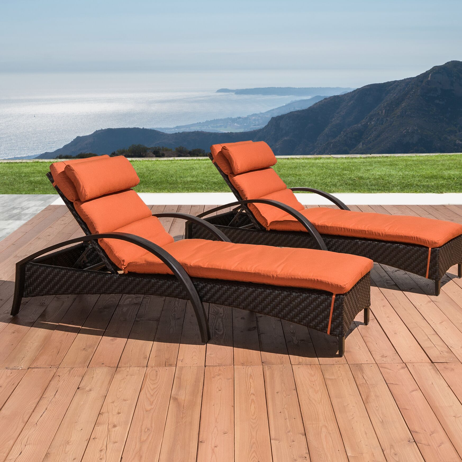 Cumberland Contemporary Reclining Chaise Lounge with Cushion Cushion Color: Tikka Orange