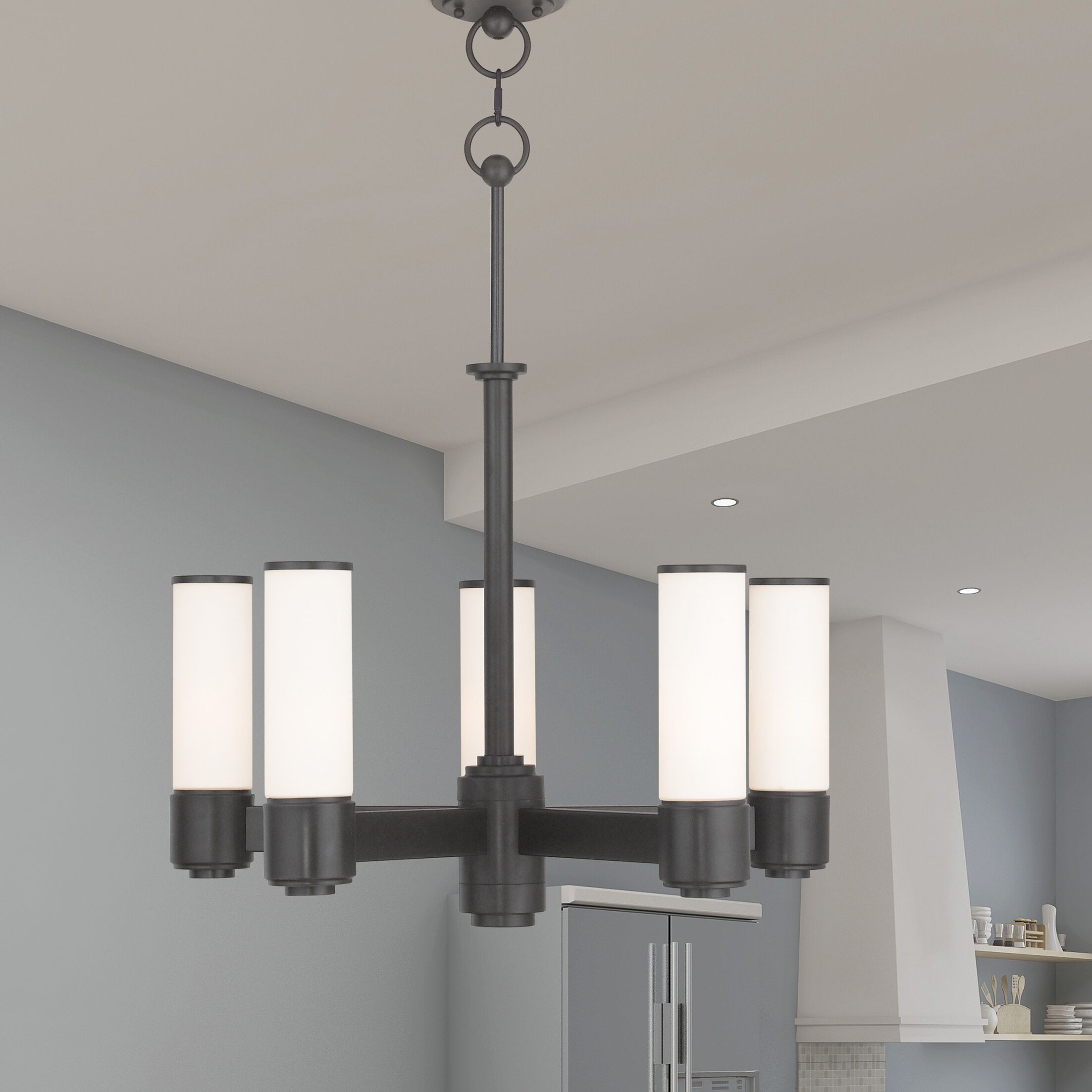 Kramer 5-Light Shaded Chandelier Finish: English Bronze