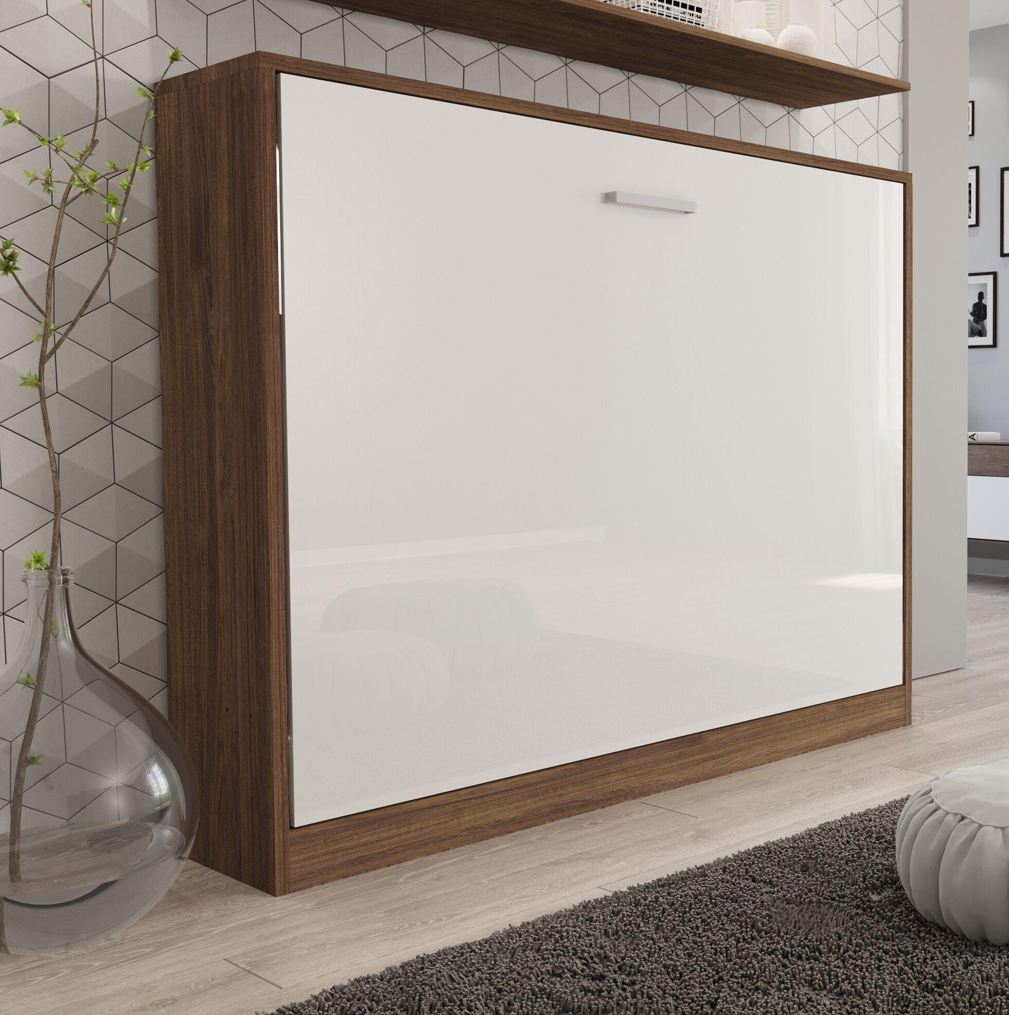 Gautreau Full Murphy Bed with Mattress Color: High-Gloss White/Dark Wood