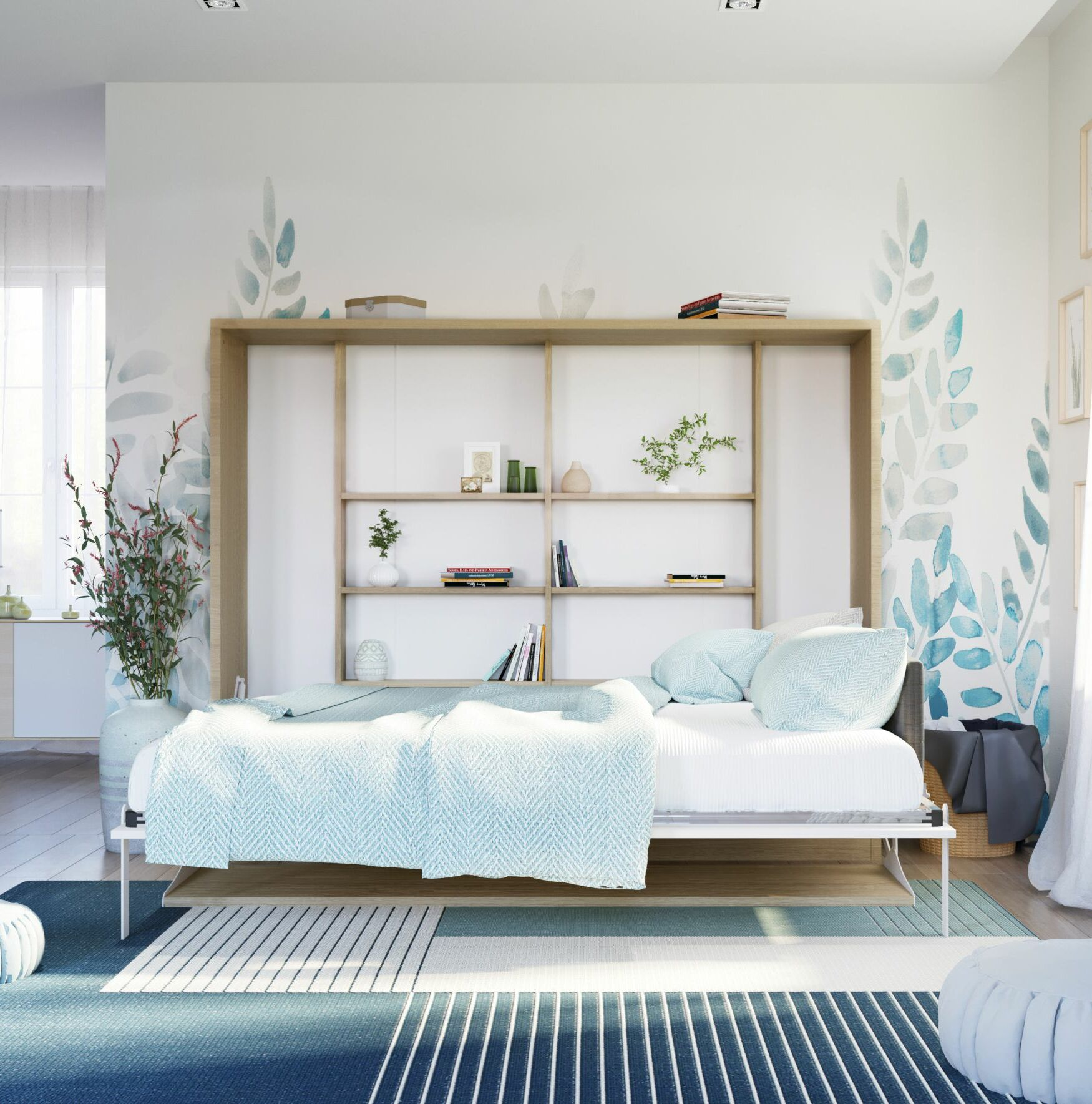 Gautreau Full Murphy Bed with Mattress Color: Semi-Gloss White/Light Wood