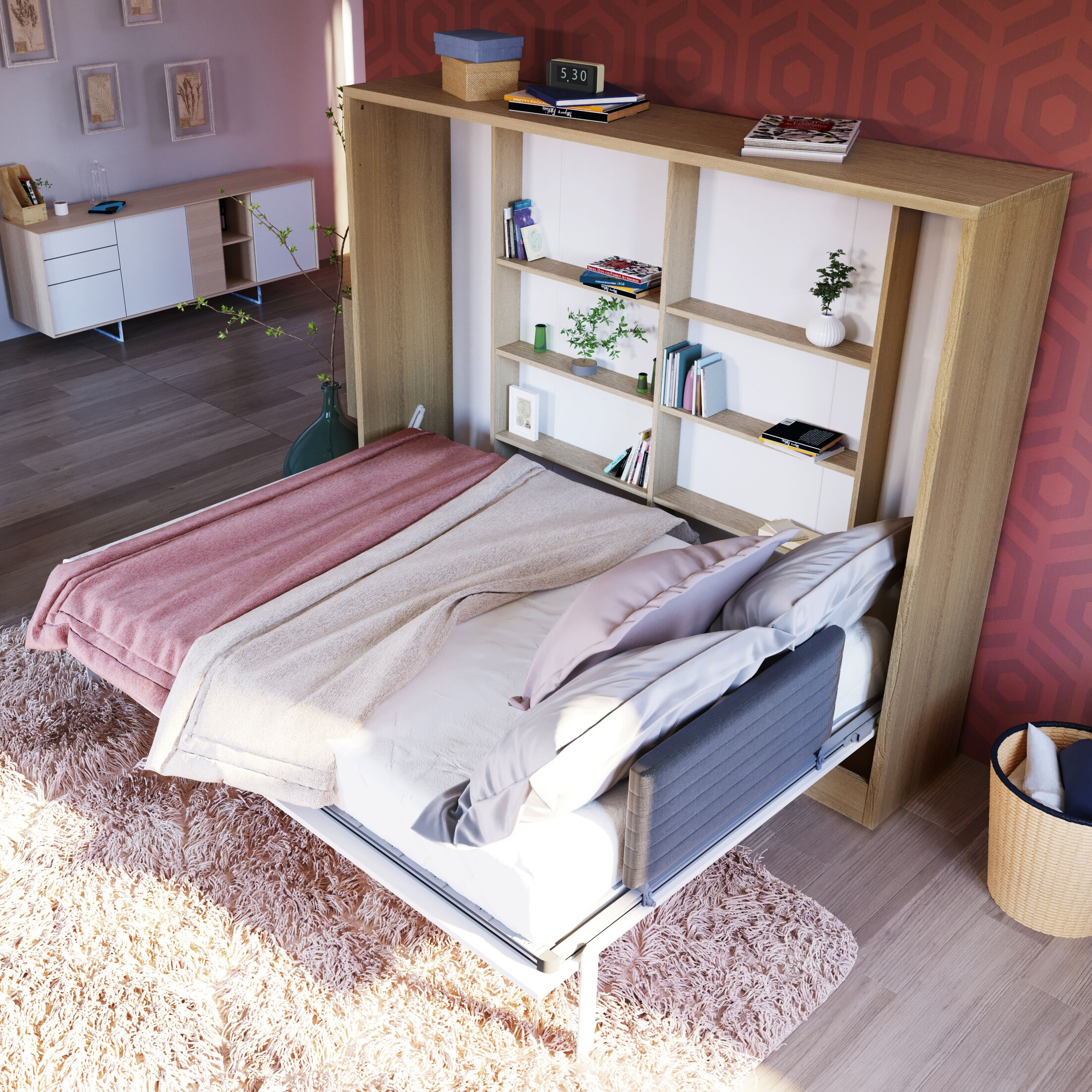 Gautreau Full Wall Configuration Murphy Bed without Table Color: Semi-Gloss White/Light Wood