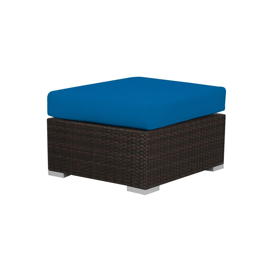 Ronning Ottoman with Cushion Fabric: Sunbrella Pacific Blue, Size: 13