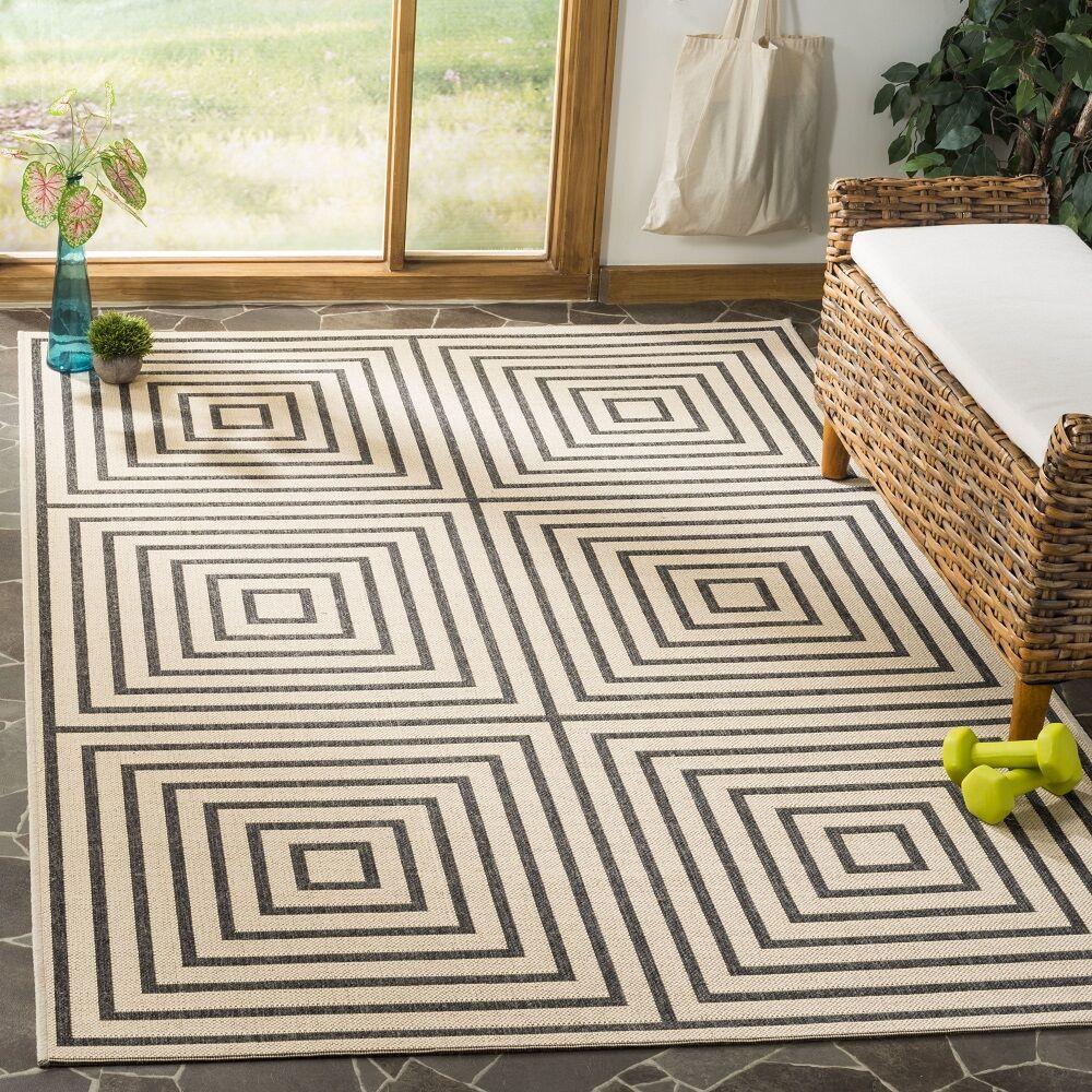 Horne Creme/Black Area Rug Rug Size: Rectangle 8' x 10'