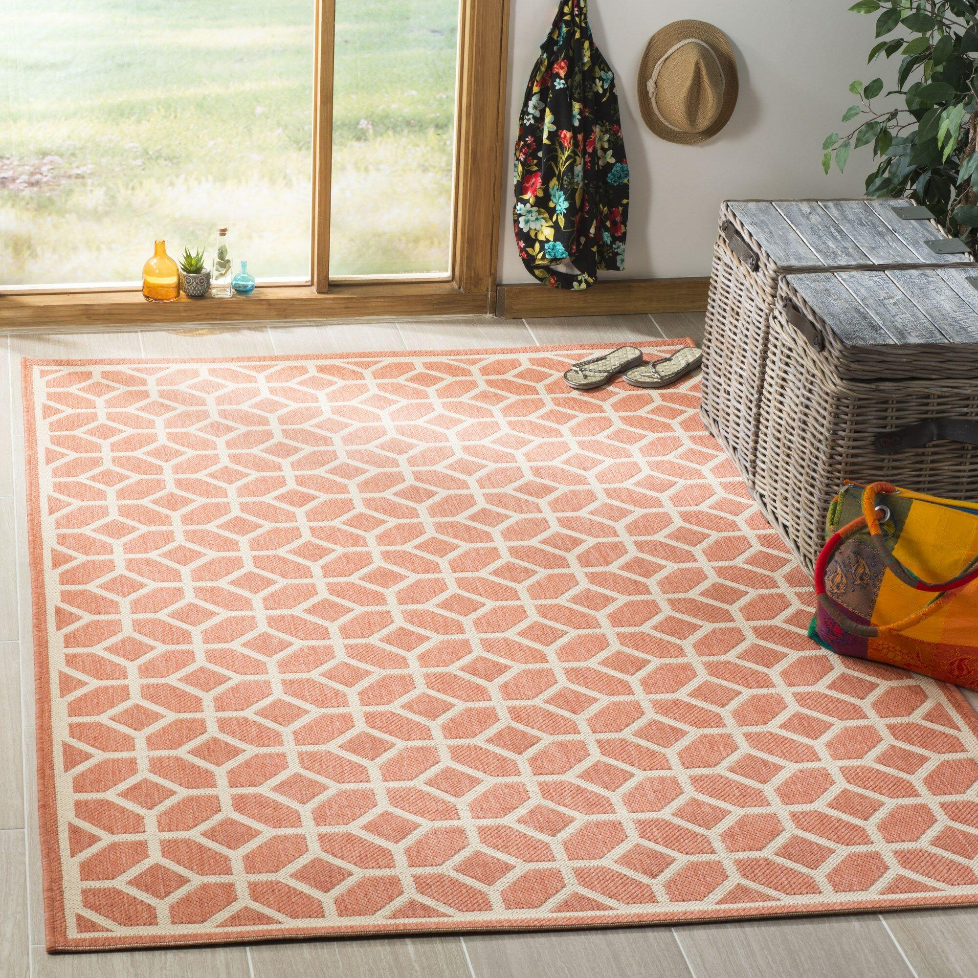 Shea Rust/Cream Area Rug Rug Size: Rectangle 8' x 10'