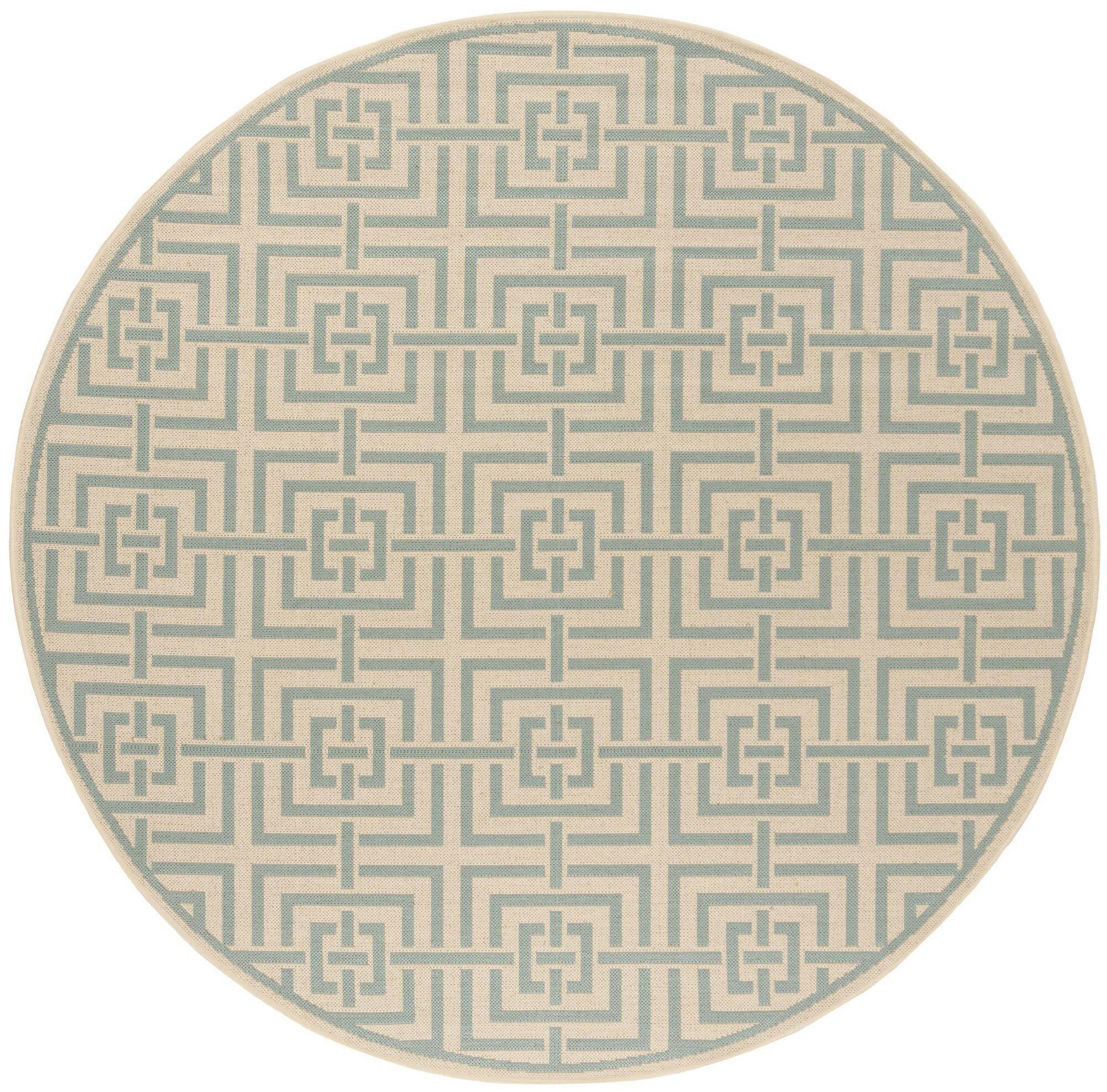 Shea Cream/Aqua Area Rug Rug Size: Round 6'7