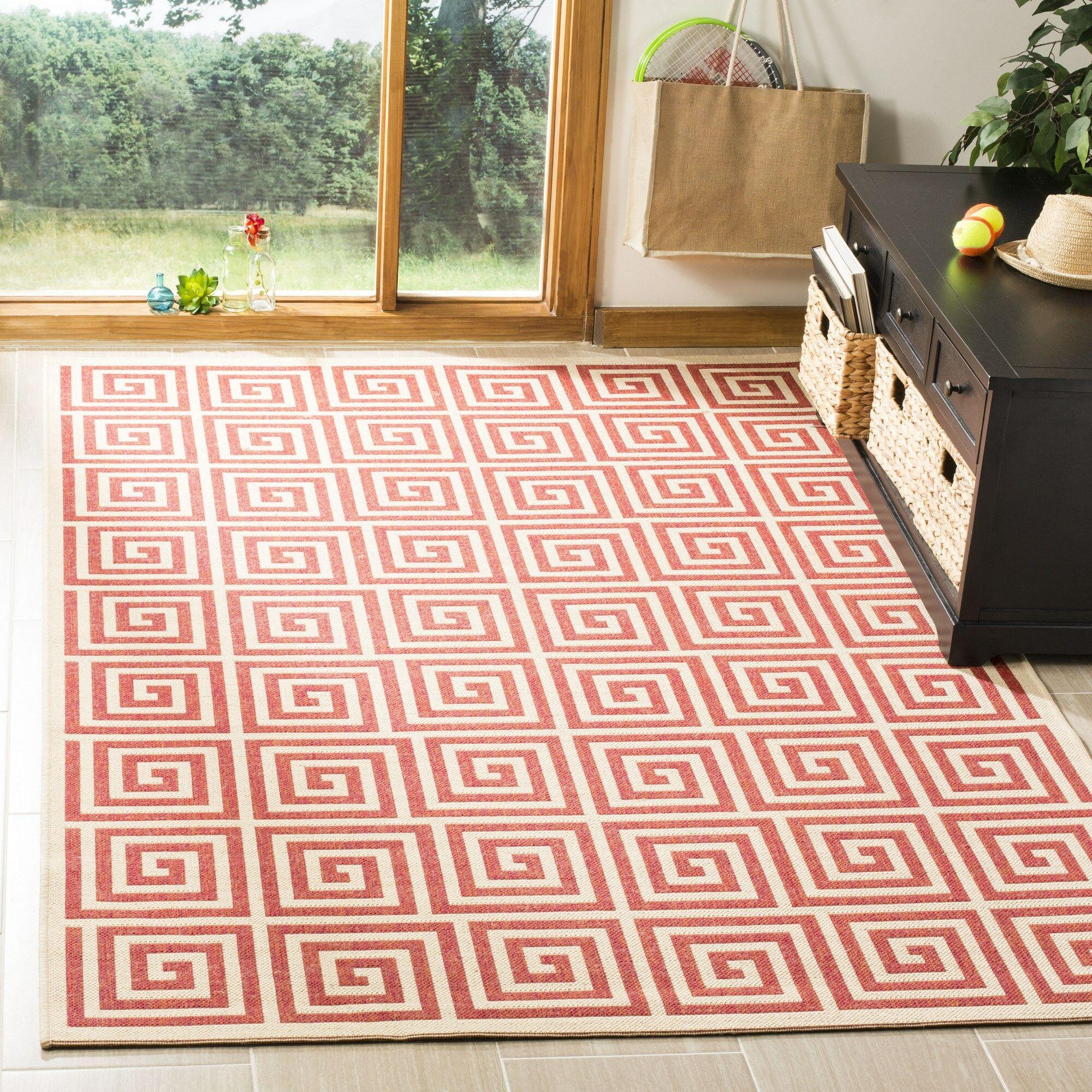 Katsikis Red/Creme Area Rug Rug Size: Rectangle 5'1