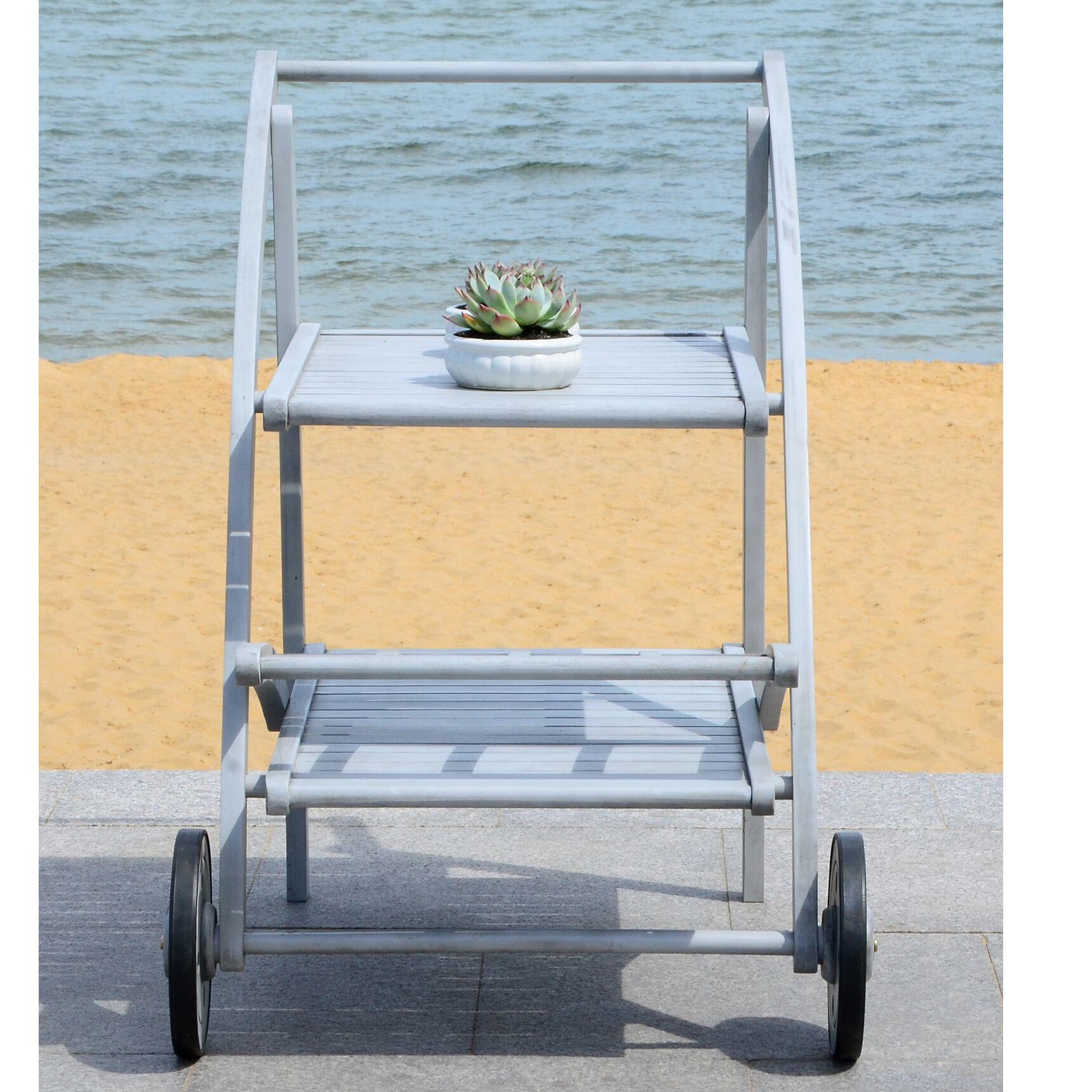 Drachten Tea Serving Cart Finish: Grey Wash/Beige