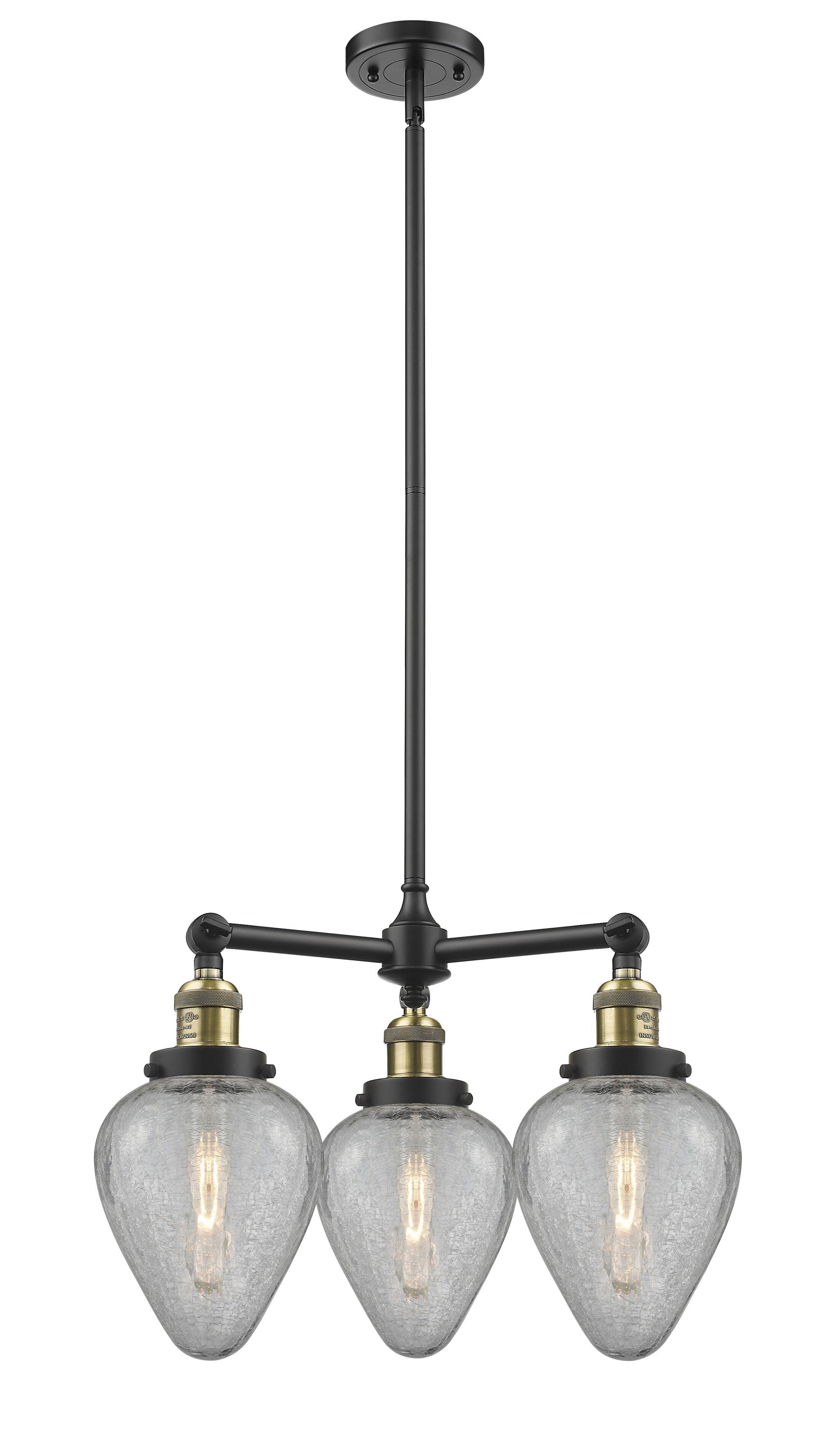 Bontrager 3-Light Shaded Chandelier Finish: Black Brushed Brass