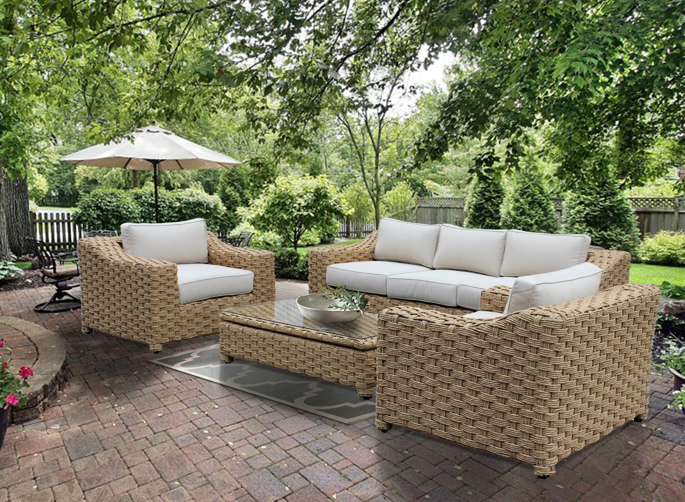 Dutil 4 Piece Rattan Sofa Set with Cushions