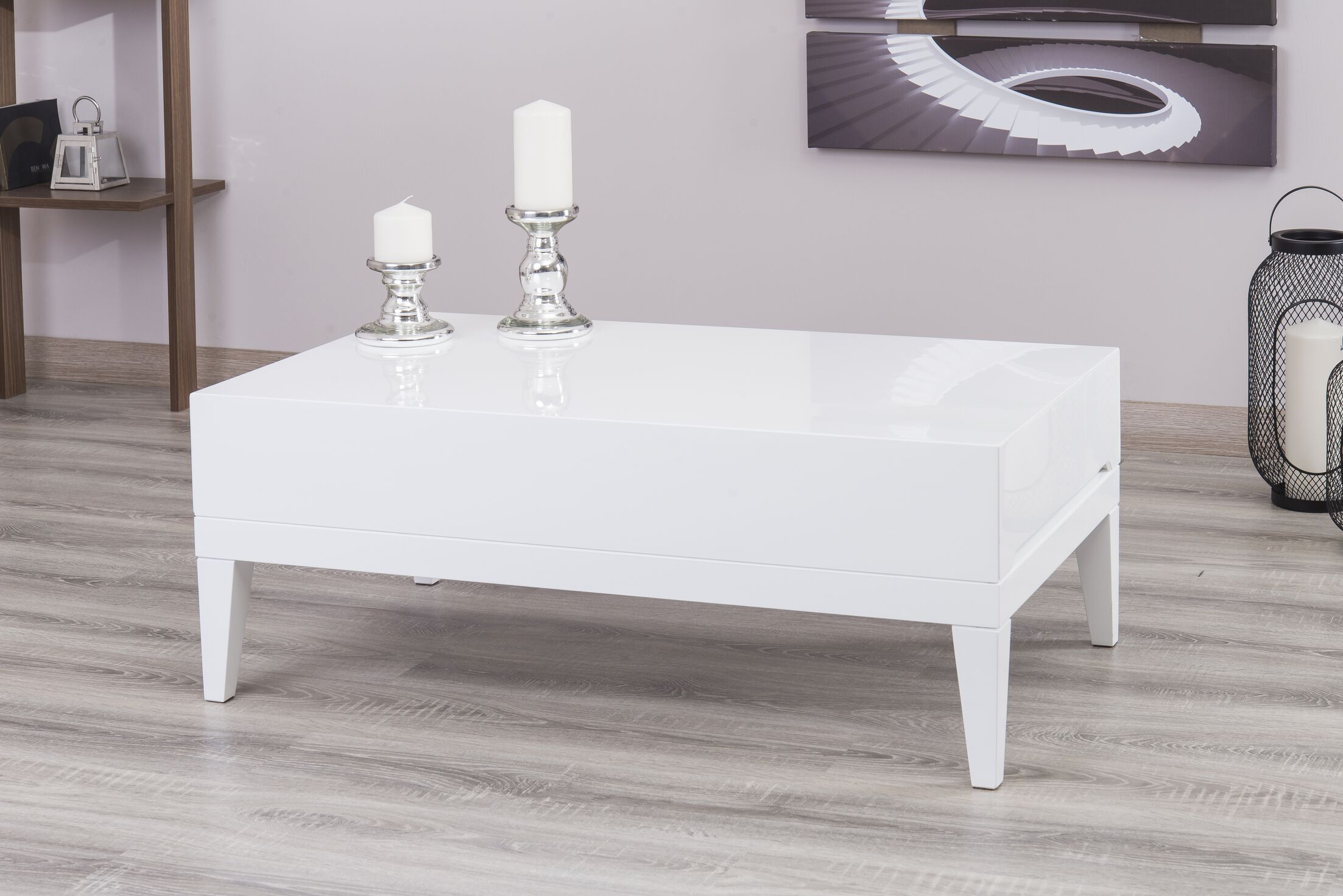 Pilning Modern Coffee Table Color: White Lacquer