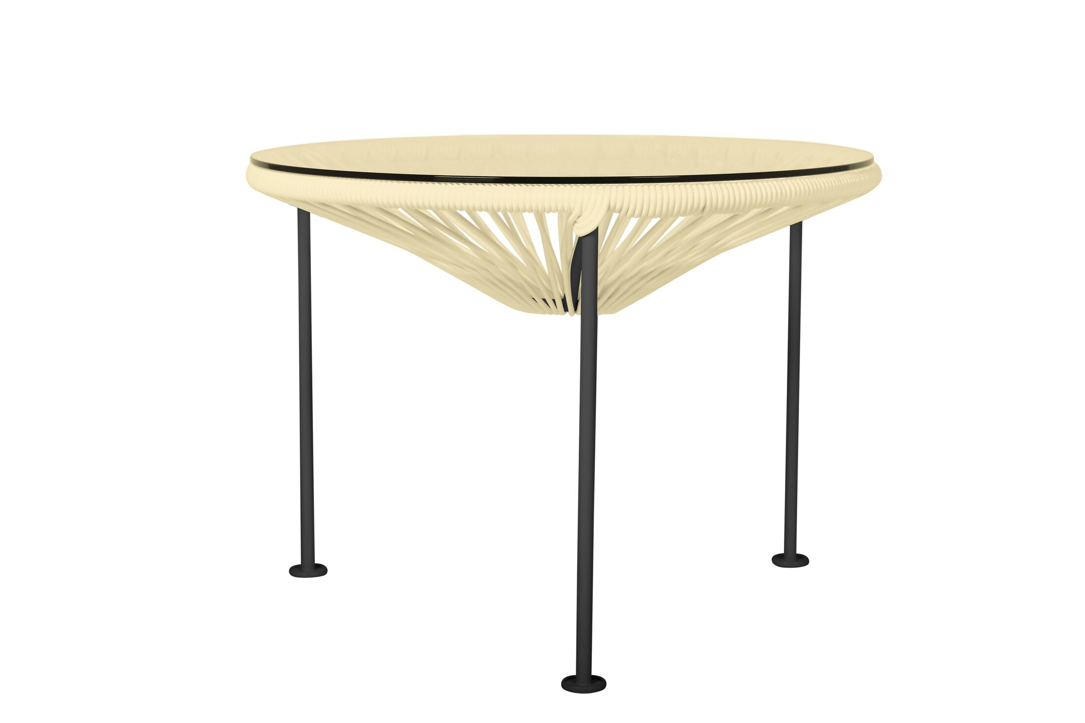 Cobby End Table Table Base Color: Black, Table Top Color: Ivory