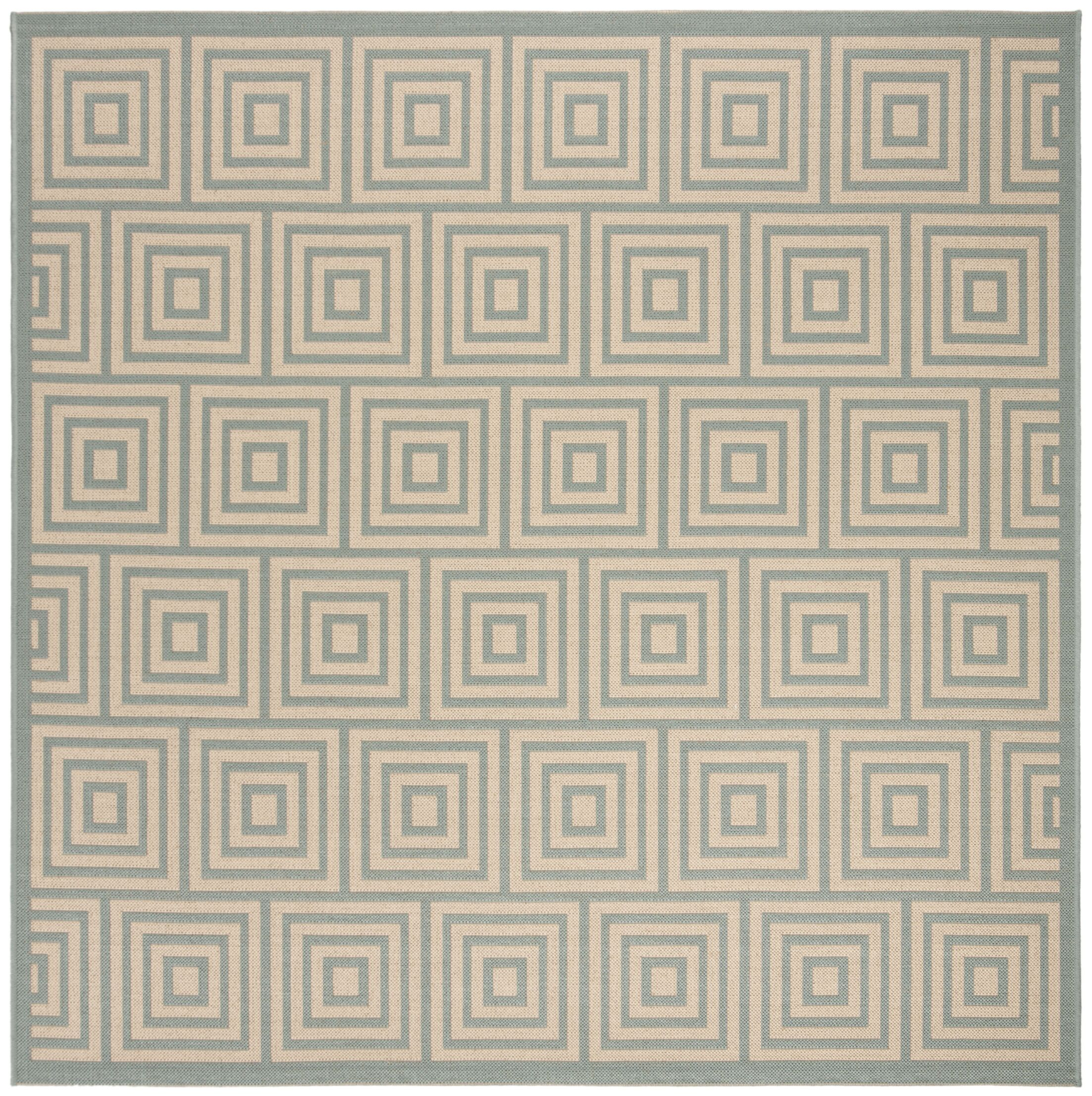Kallias Cream/Aqua Area Rug Rug Size: Square 6'7