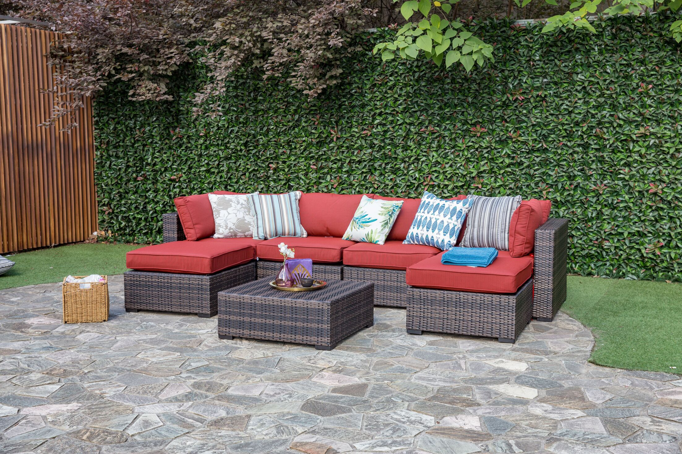 Lara 7 Piece Sectional Set with Cushions Fabric: Ribbed Brick