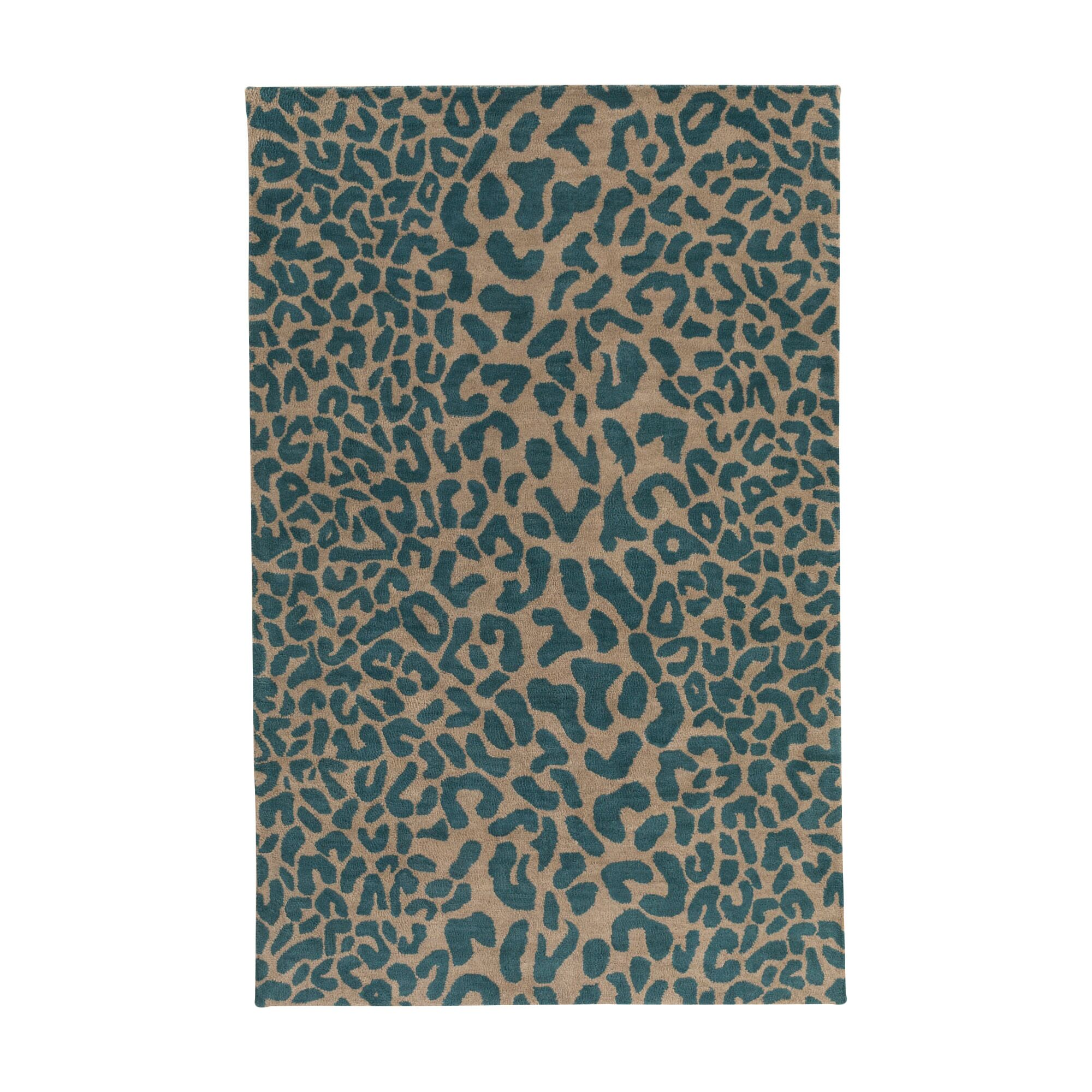 Macias Teal Animal Print Area Rug Rug Size: Rectangle 4' x 6'