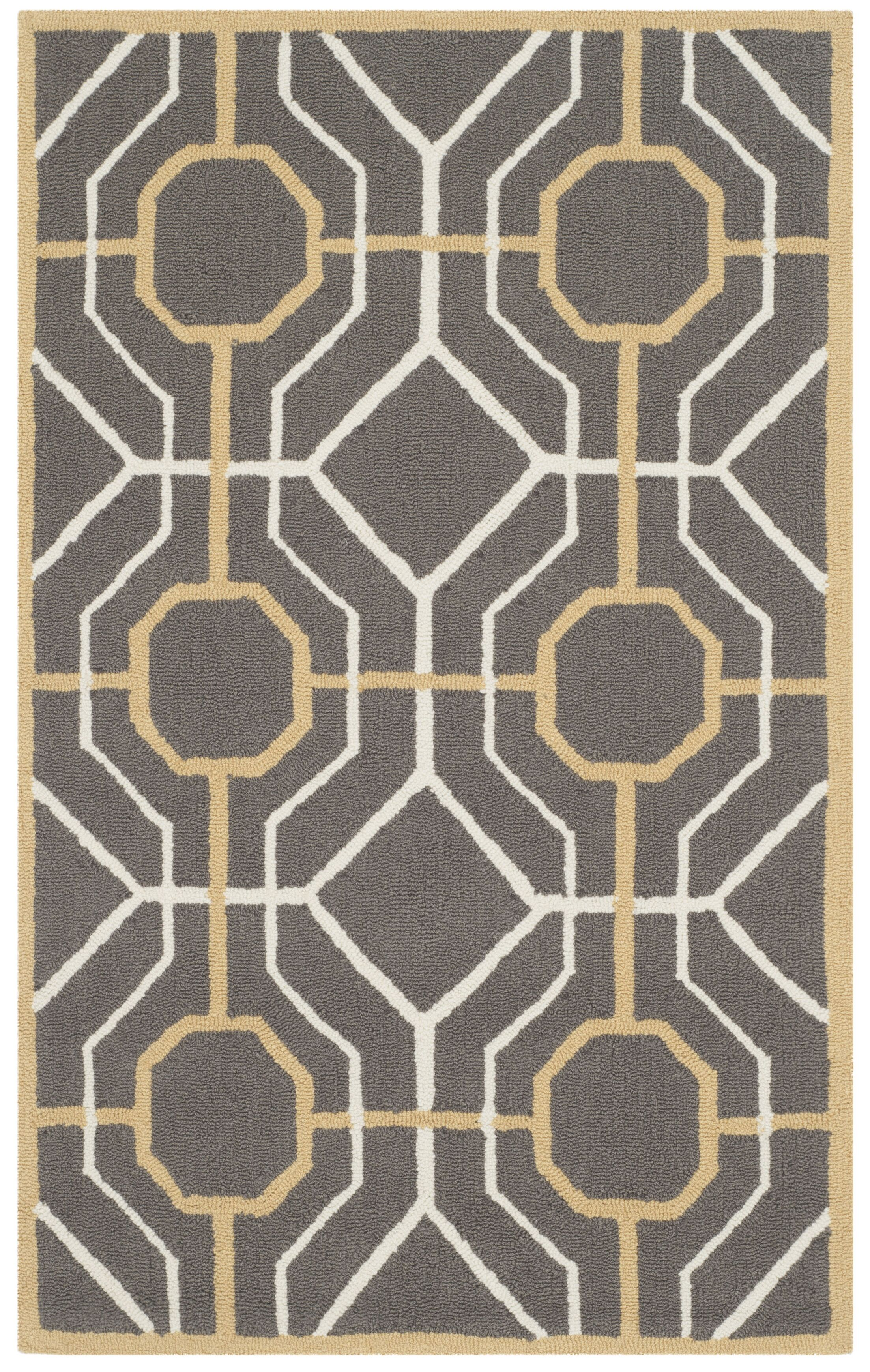 Naya Dark Gray/Ivory Area Rug Rug Size: Rectangle 3'6