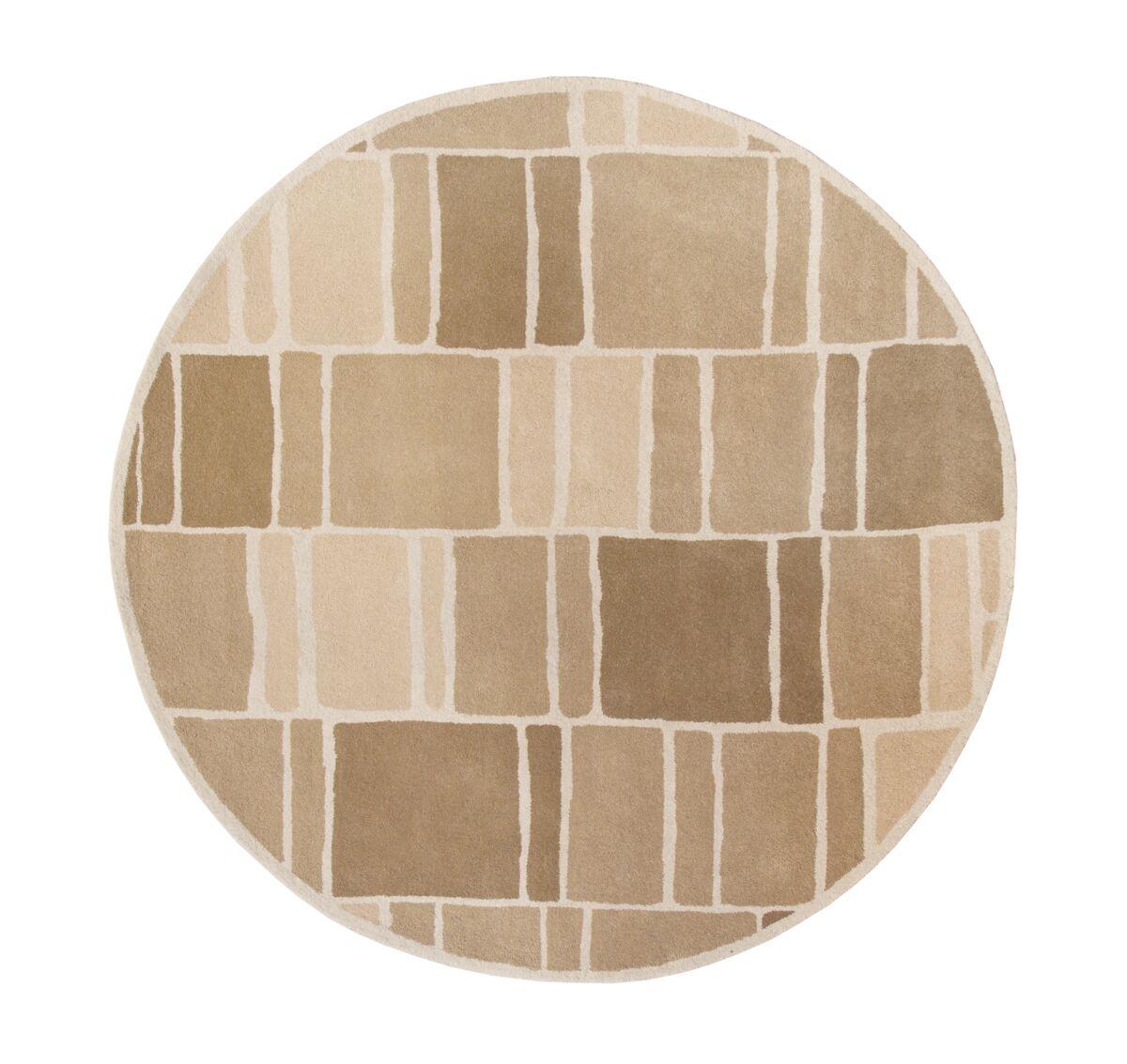 Blocks Hand-Loomed Camel / Ivory Area Rug Rug Size: Round 8' x 8'