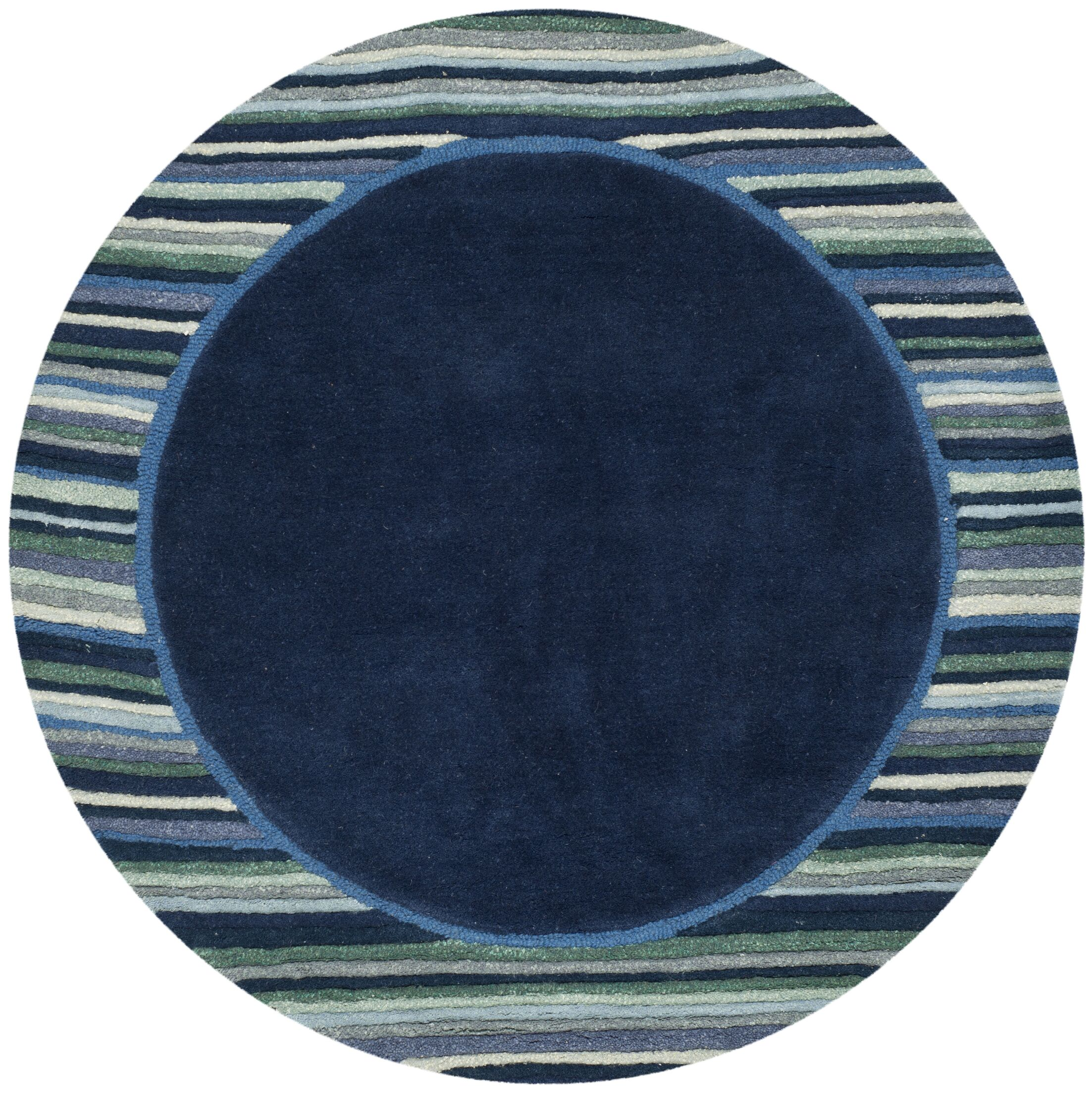 Striped Border Hand-Tufted Wrought Iron Area Rug Rug Size: Round 8' x 8'