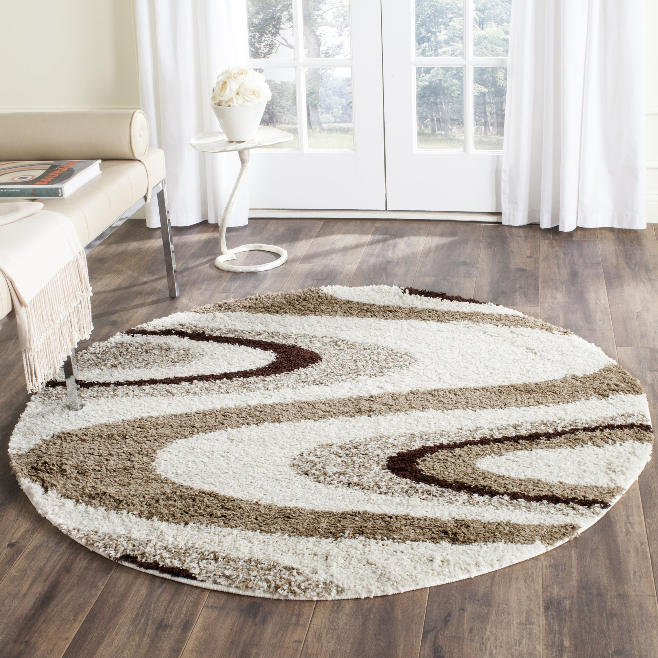 Driffield Ivory/Brown Shag Area Rug Rug Size: Round 5'
