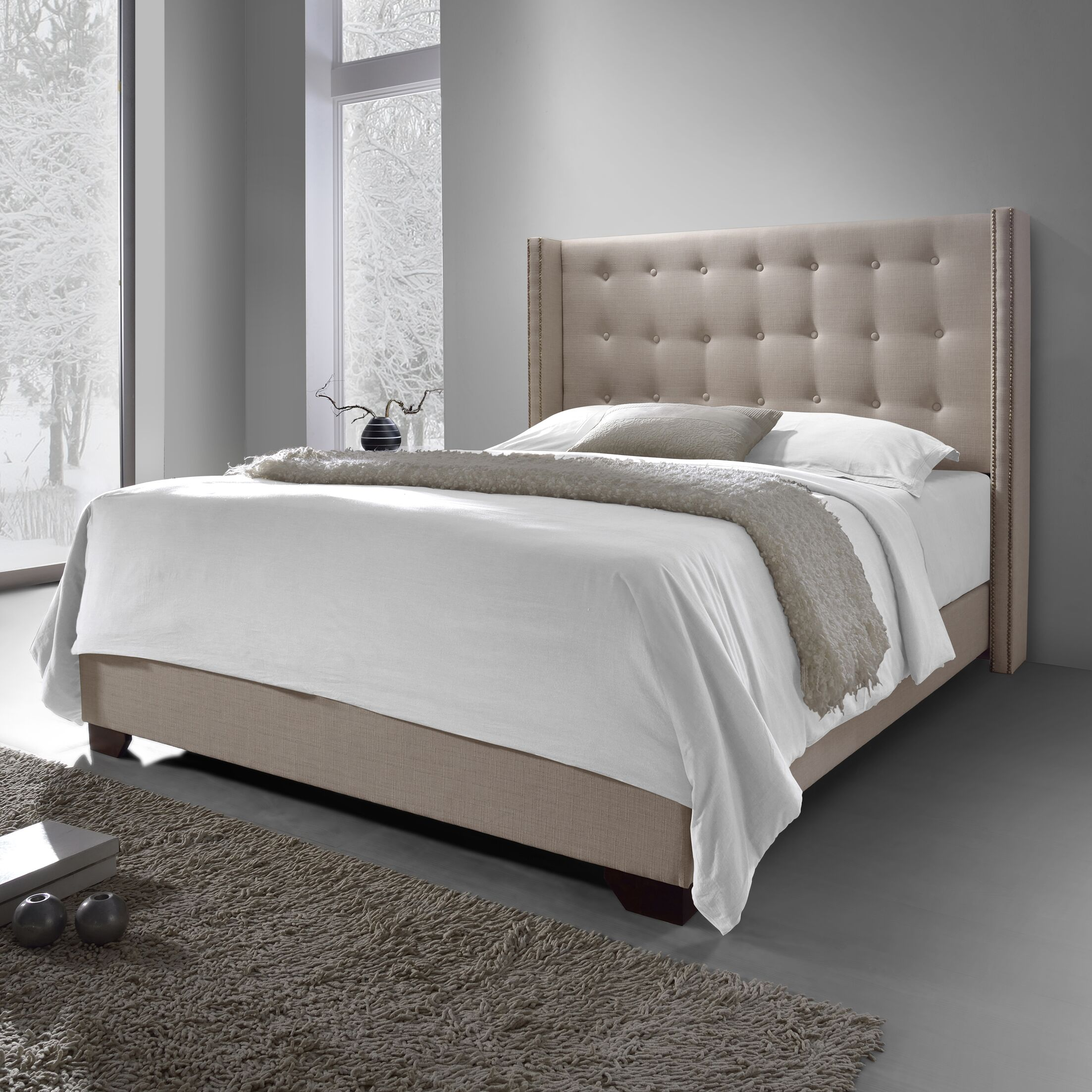 Arno Upholstered Panel Bed Size: King, Color: Grey