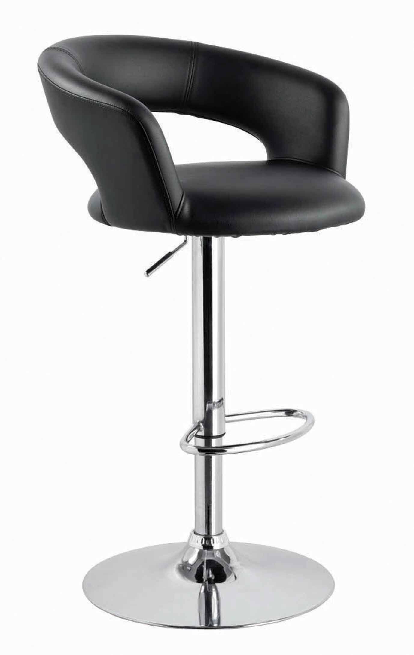 Sevastopol Adjustable Height Swivel Bar Stool Upholstery: Black