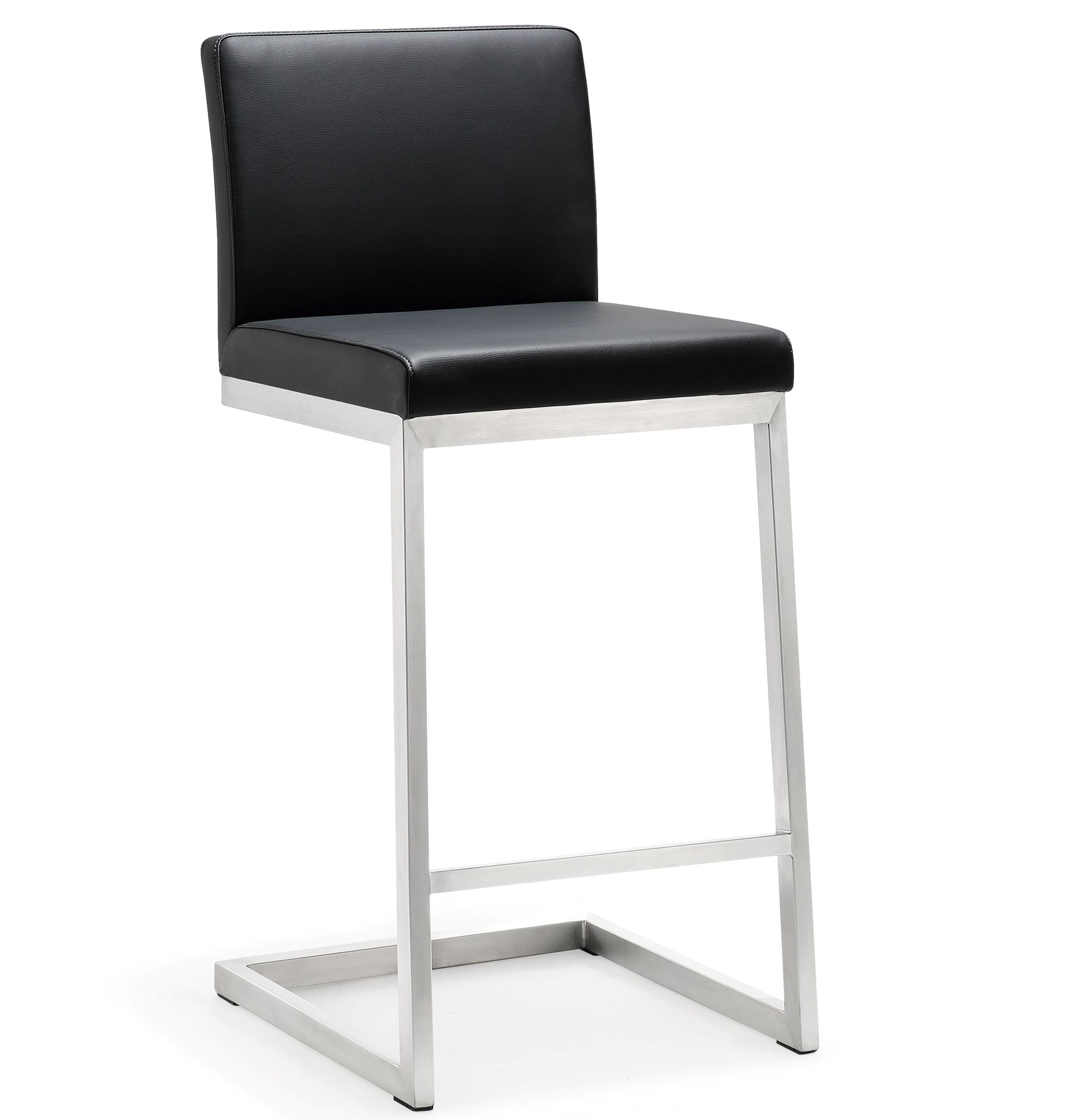 Brace Bar Stool Upholstery: Black
