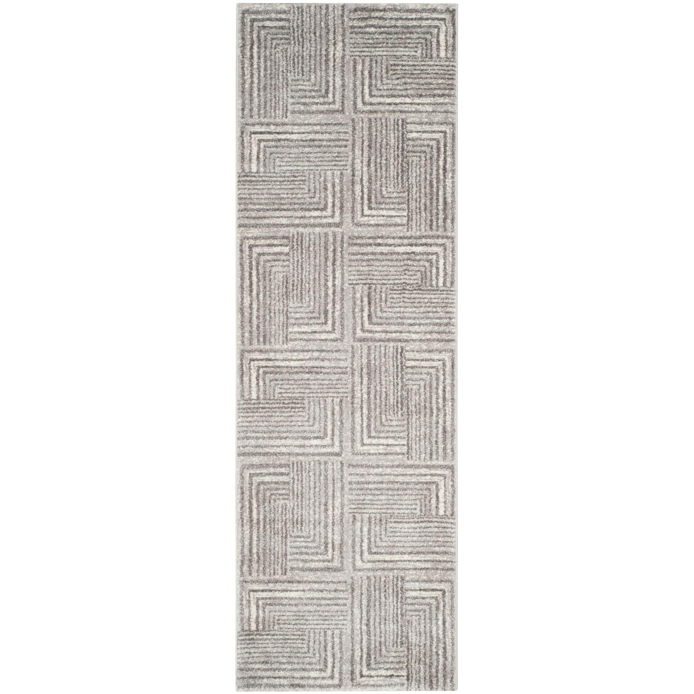 Dessert Contemporary Light Grey/Dark Grey Area Rug Rug Size: Runner 2'4