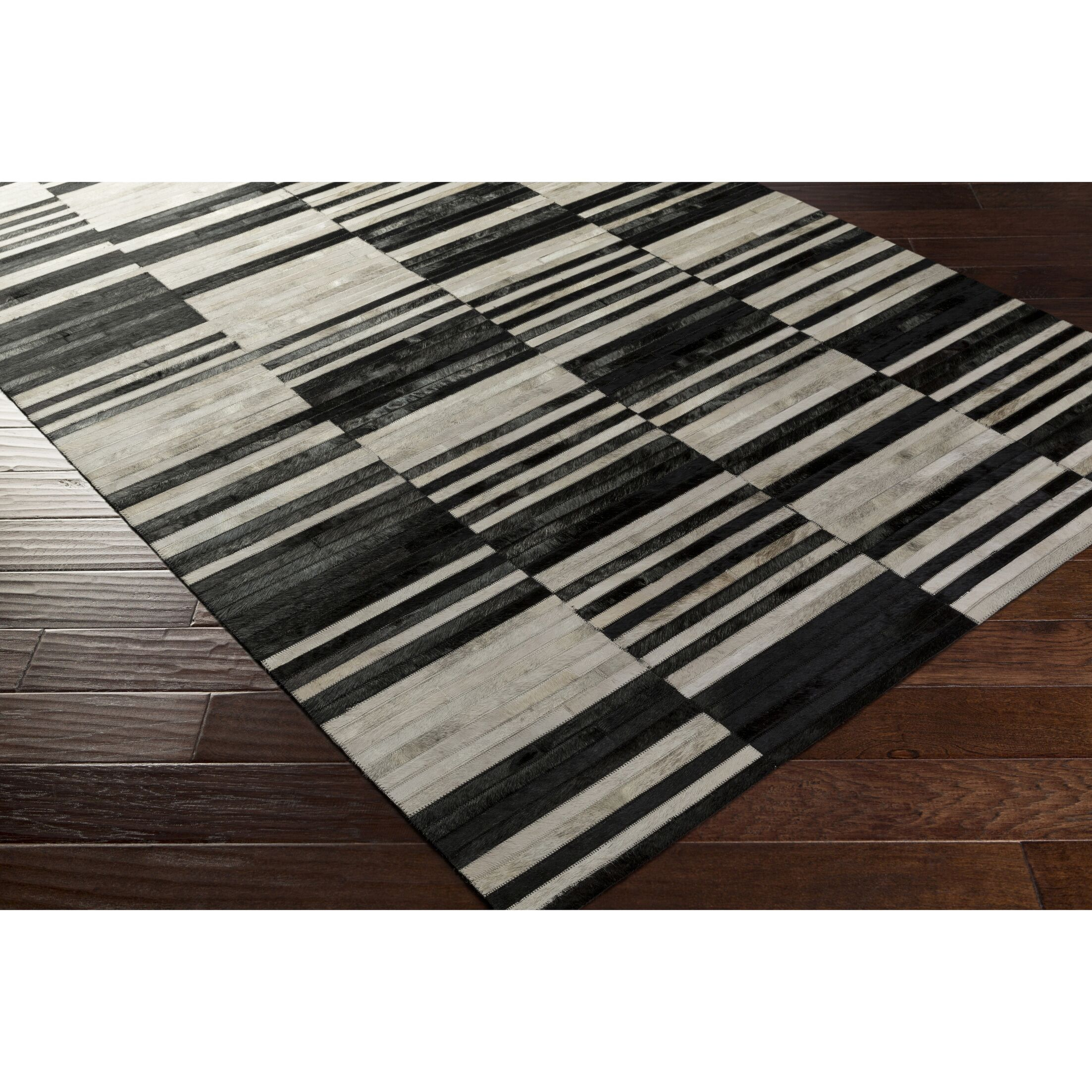 Ashley Hand-Crafted Black/Neutral Area Rug Rug Size: Rectangle 2' x 3'