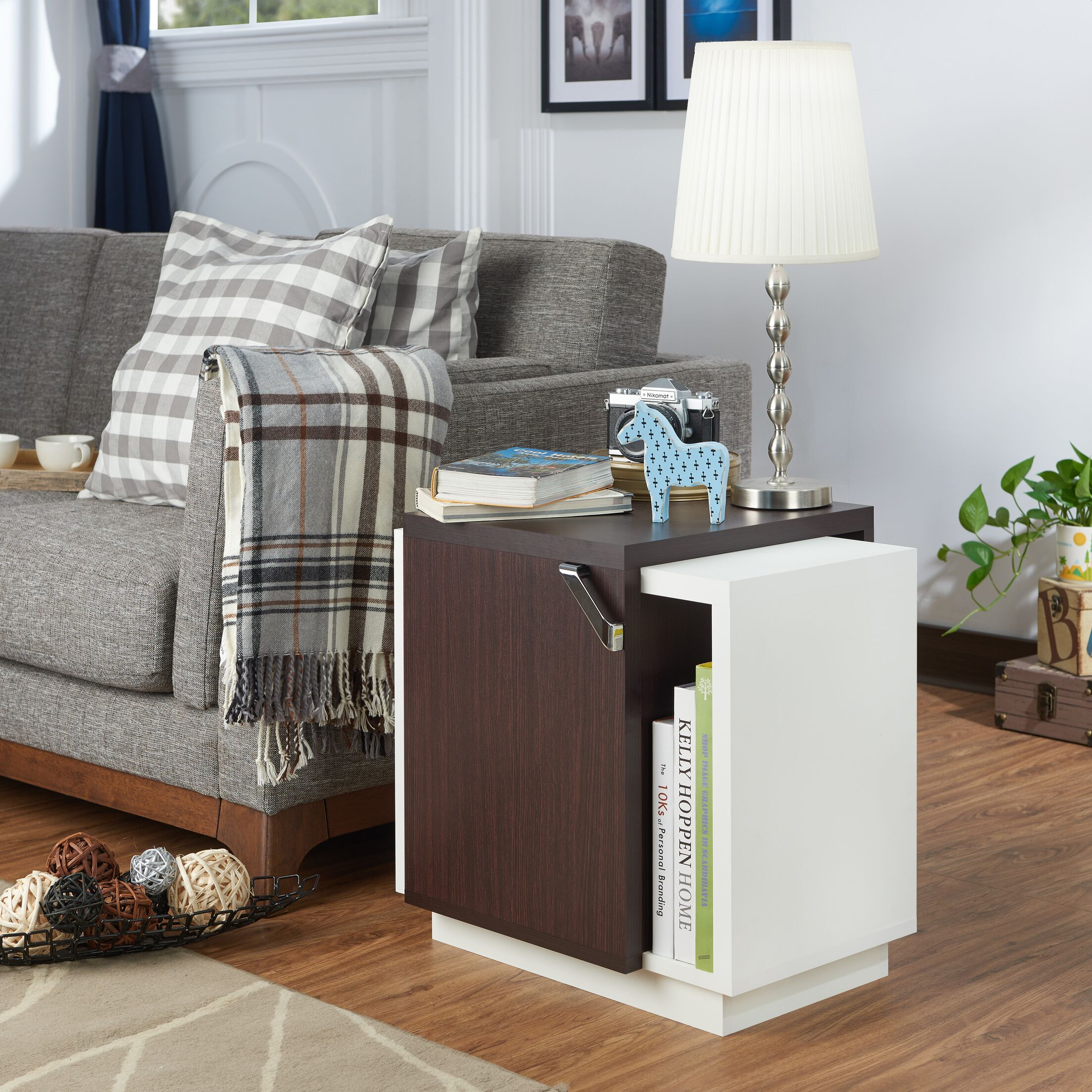 Polytric End Table Color: Walnut/White