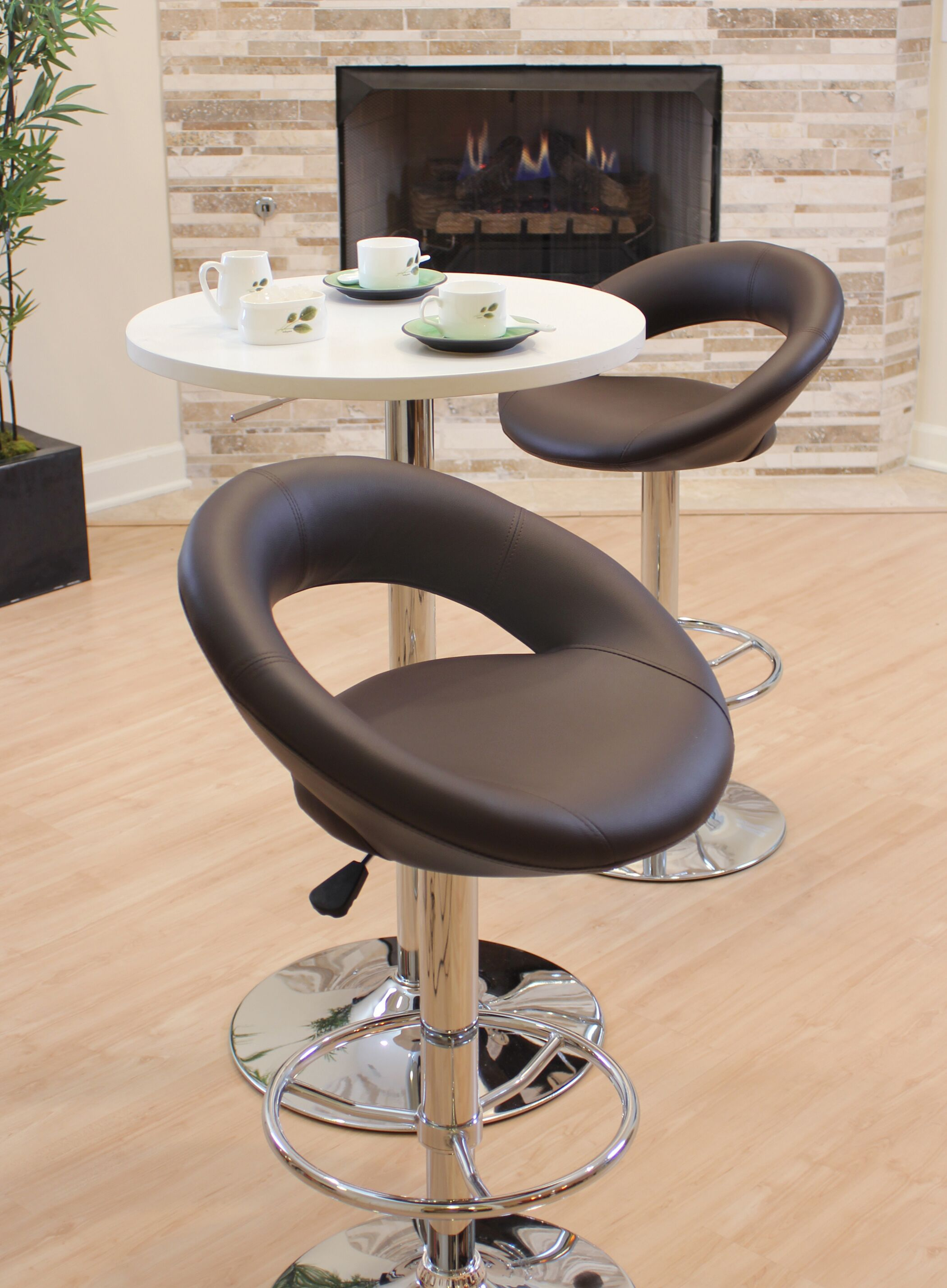 Quinton Adjustable Height Swivel Bar Stool Upholstery: Brown