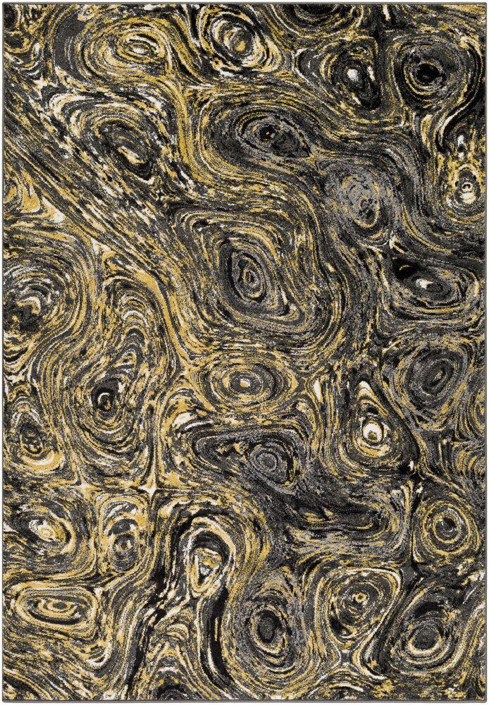 Callisto Yellow/Charcoal Area Rug Rug Size: Rectangle 5'3