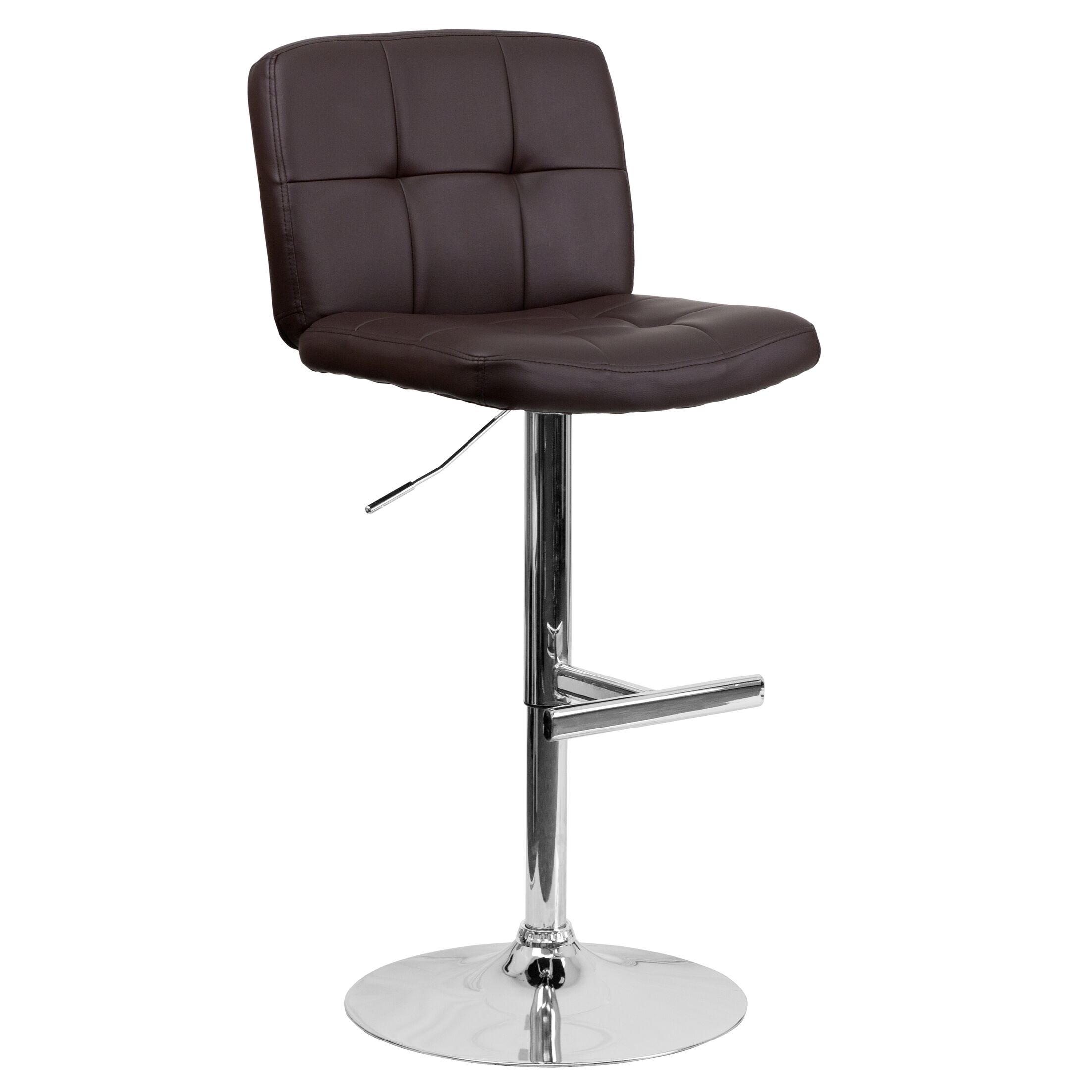Alandra Adjustable Height Swivel Bar Stool (Set of 2) Upholstery: Brown
