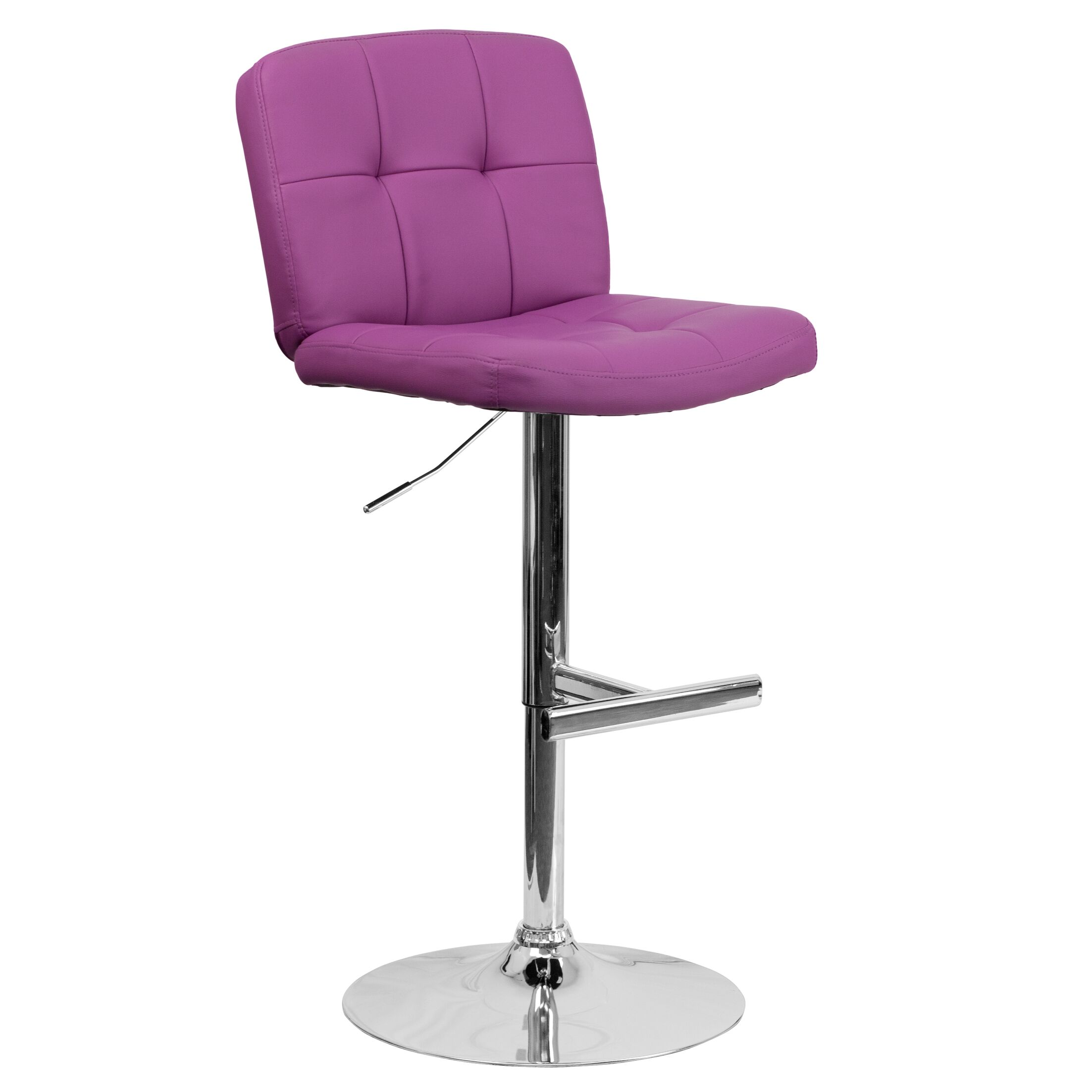 Alandra Adjustable Height Swivel Bar Stool (Set of 2) Upholstery: Purple