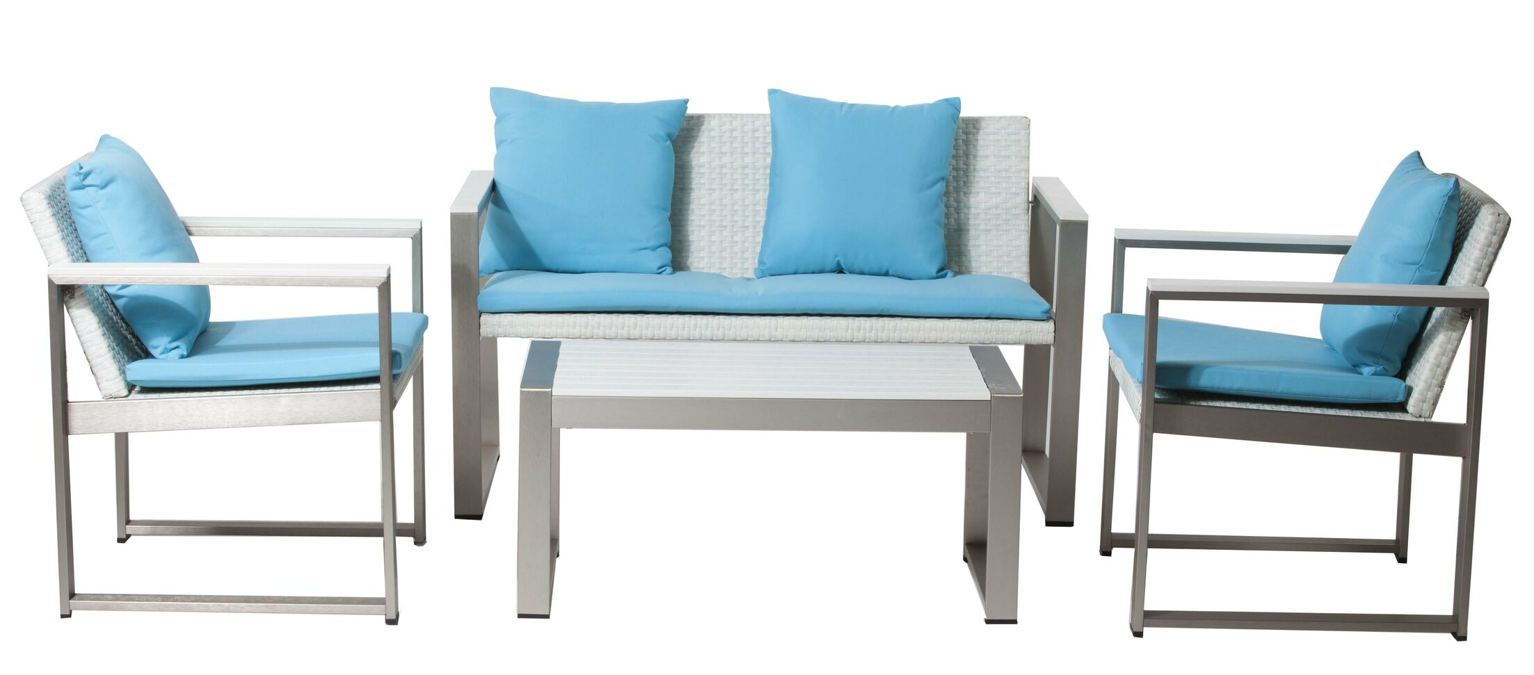 Carrell 17 Piece Rattan Conversation Set with Cushion Color: White, Fabric: Turquoise