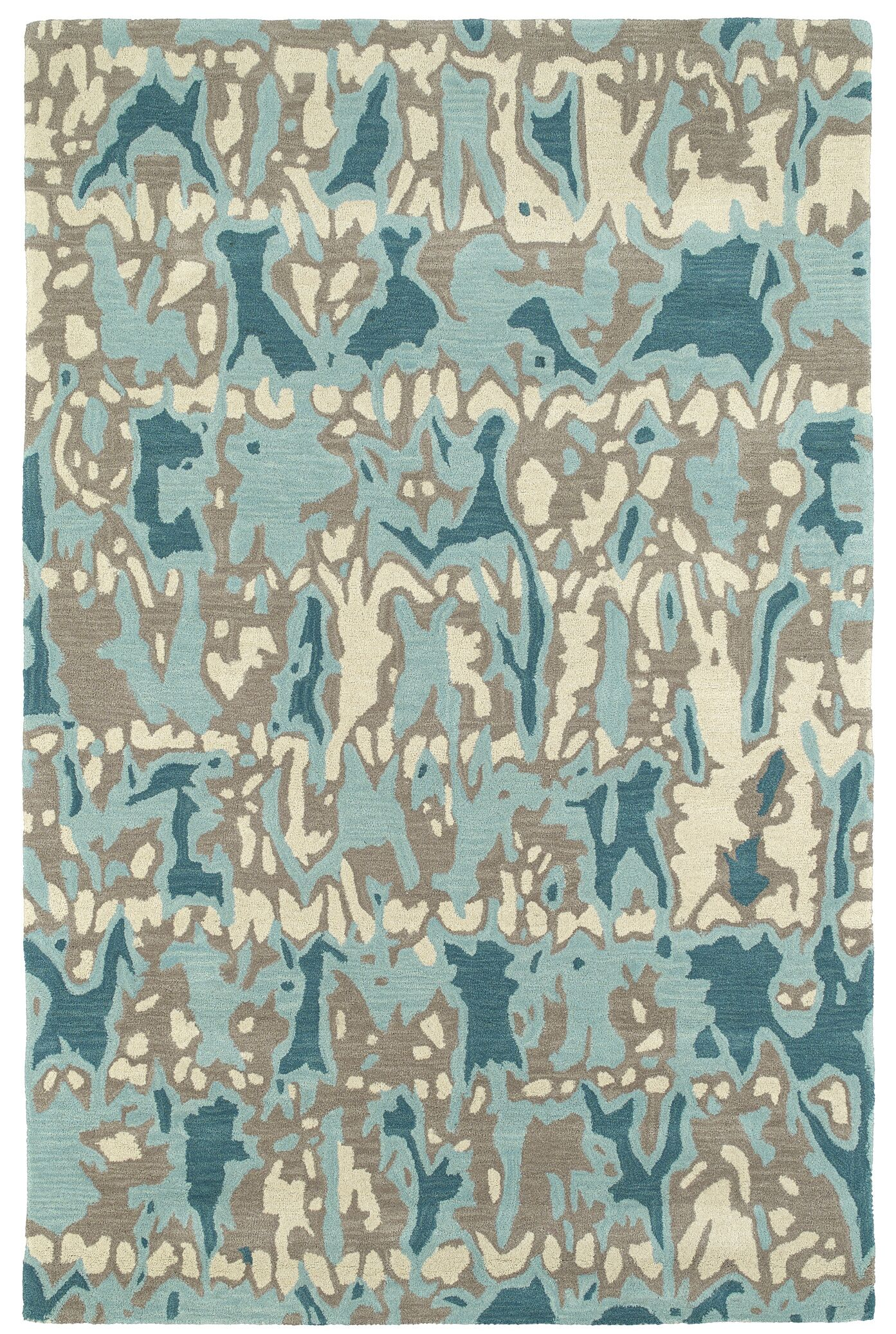 Charlayne Hand Tufted Beige/Blue Area Rug Rug Size: Rectangle 8' x 10'