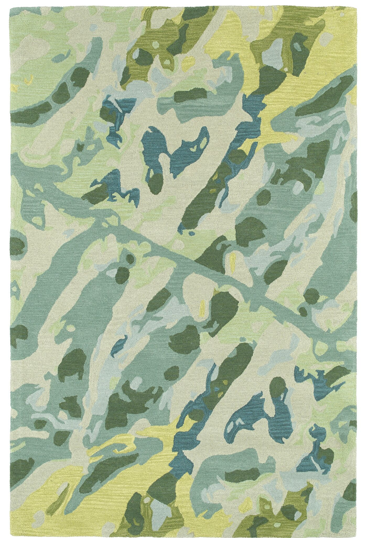 Charlayne Hand Tufted Green/Beige Area Rug Rug Size: Rectangle 9' x 12'