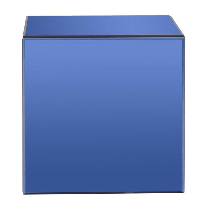 Charee Mirrored Cube End Table Color: Blue