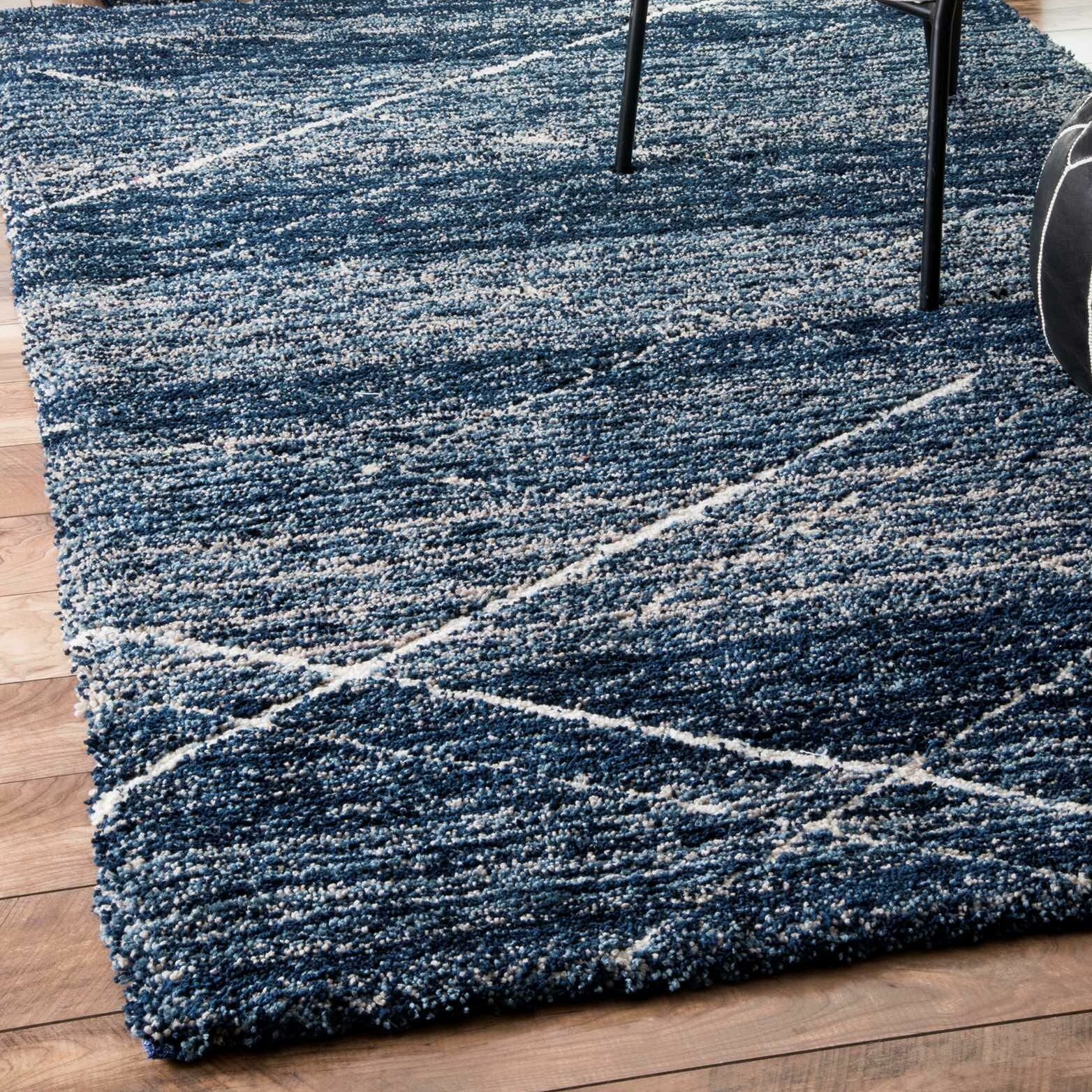 Hickman Hand-Tufted Blue Area Rug Rug Size: Rectangle 6' x 9'