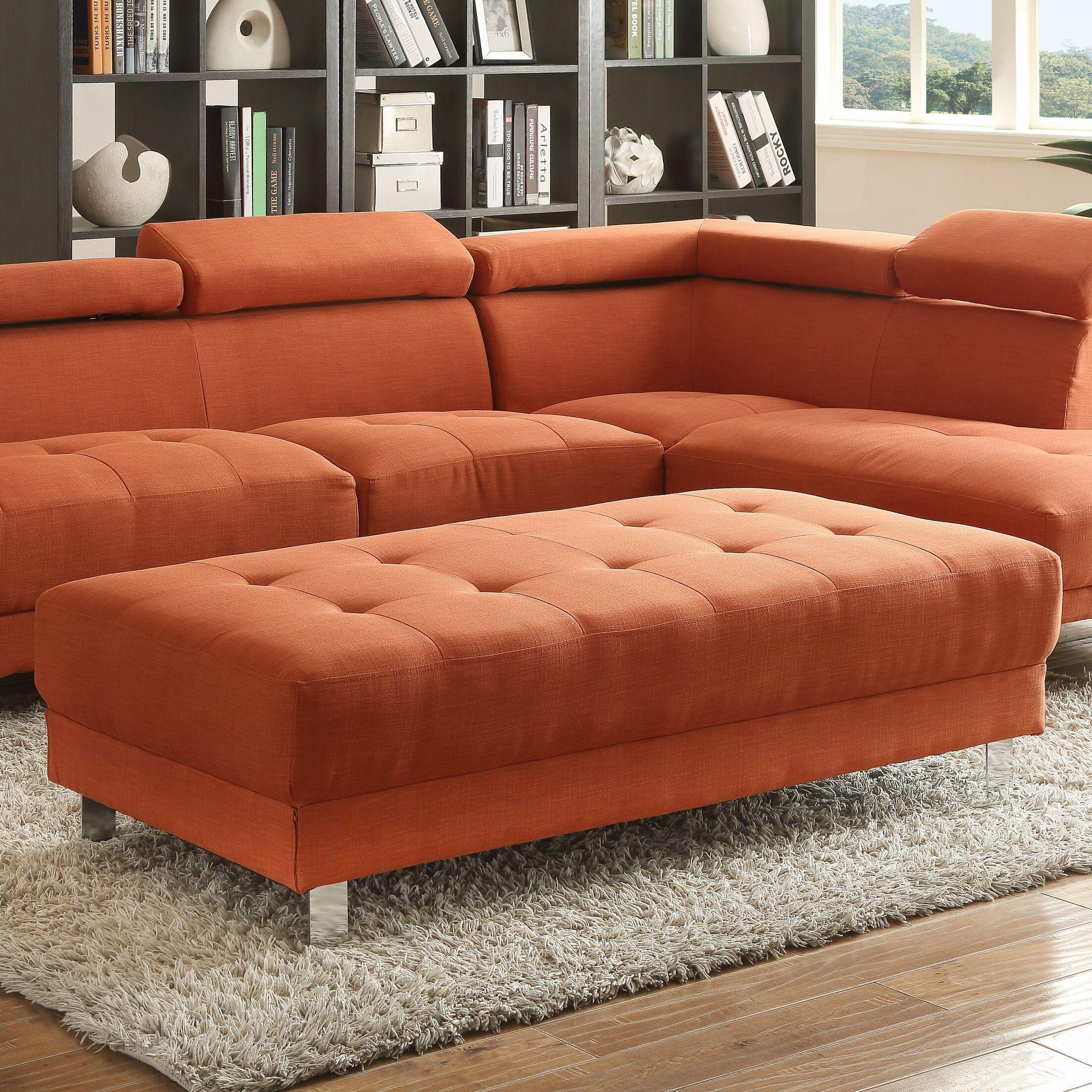 Verena Ottoman Upholstery Color: Orange