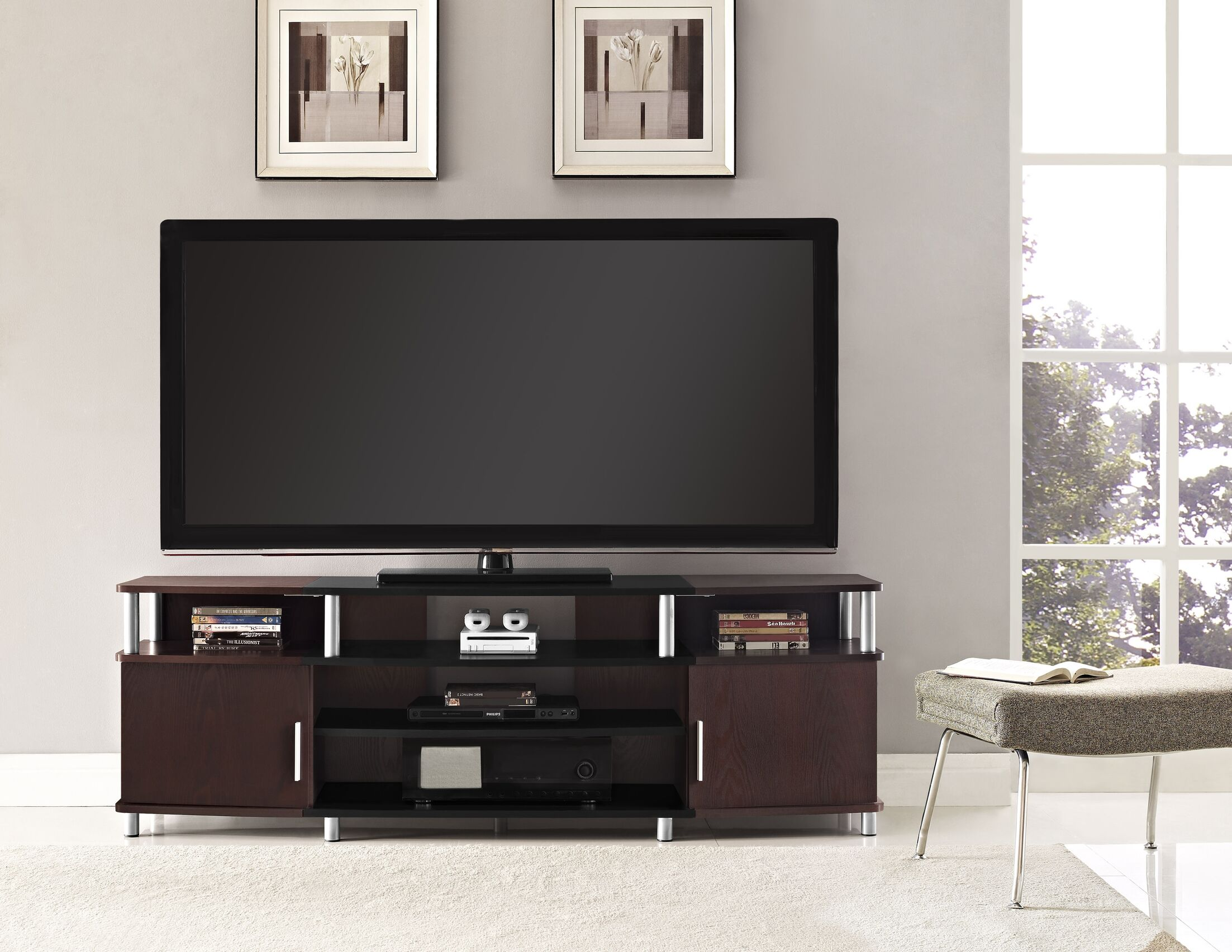 Elian TV Stand Color: Black/Cherry, Size: 63