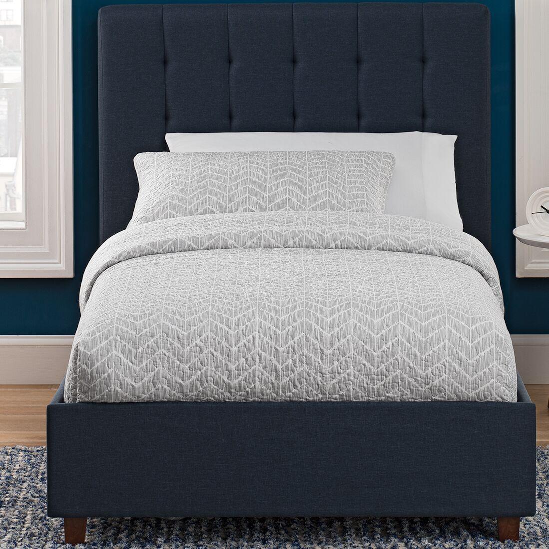 Littrell Upholstered Platform Bed Size: Full, Headboard Color: Blue
