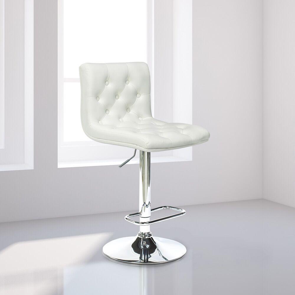 Mckayla Adjustable Height Swivel Bar Stool Upholstery: White Leather