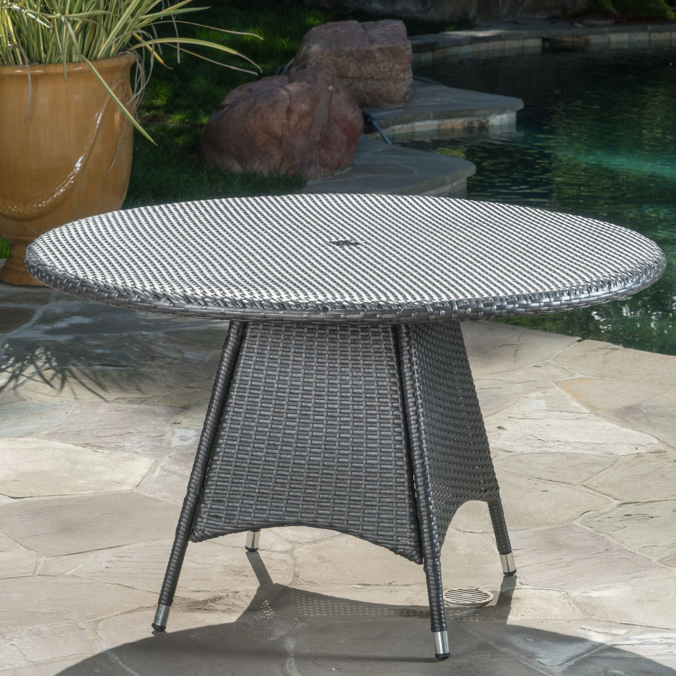 Andujar Wicker Bistro Table Color: Gray