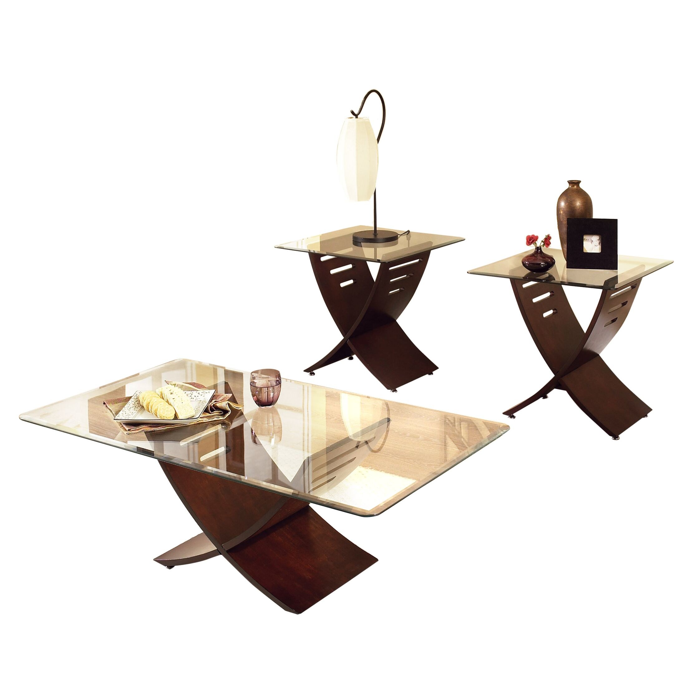 Alexios 3 Piece Coffee Table Set Color: Merlot