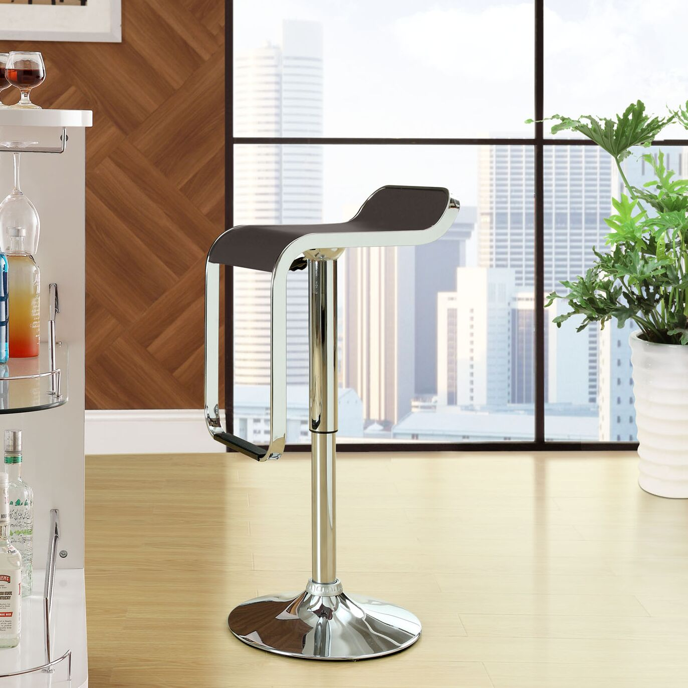 Wilton Adjustable Height Swivel Bar Stool Upholstery: Brown