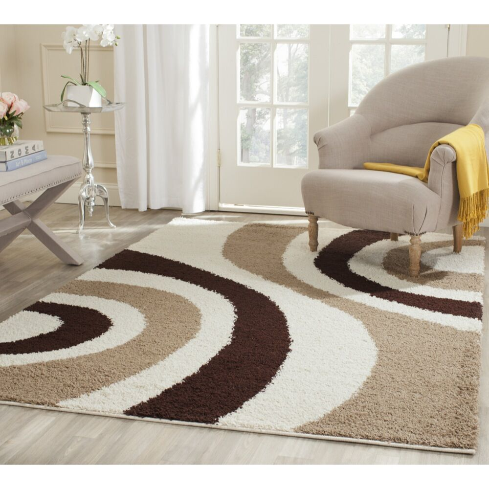 Swanson Ivory/Brown Contemporary Area Rug Rug Size: Rectangle 4' x 6'