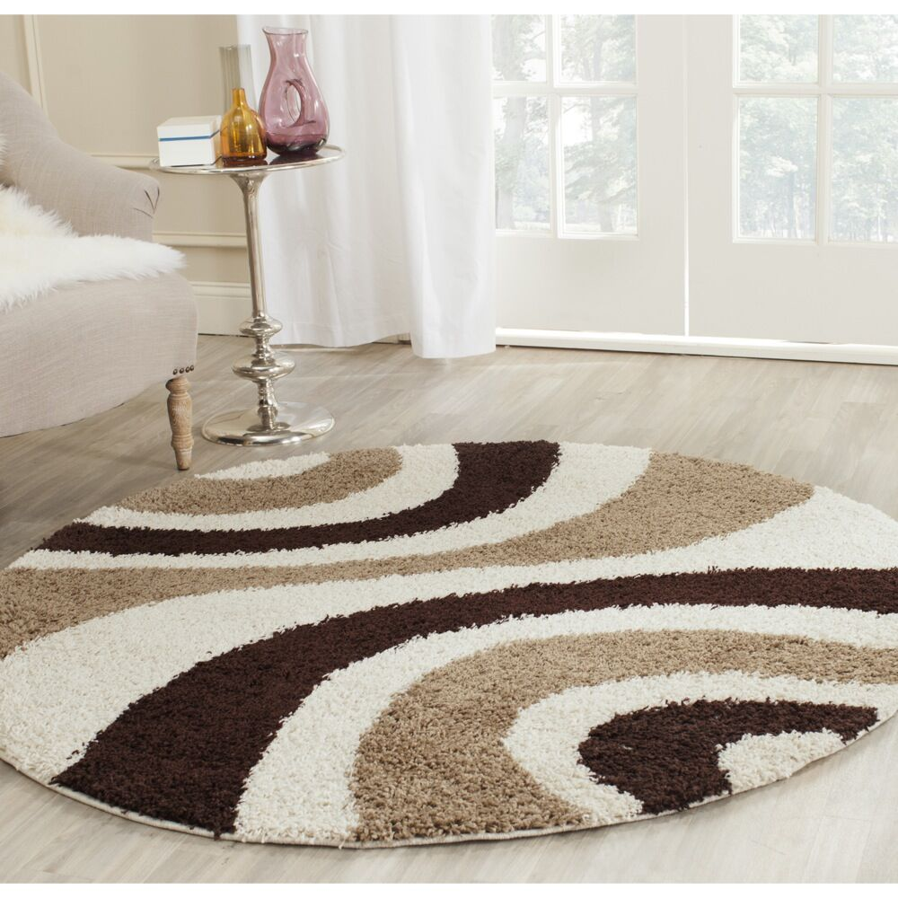 Swanson Ivory/Brown Contemporary Area Rug Rug Size: Round 5'