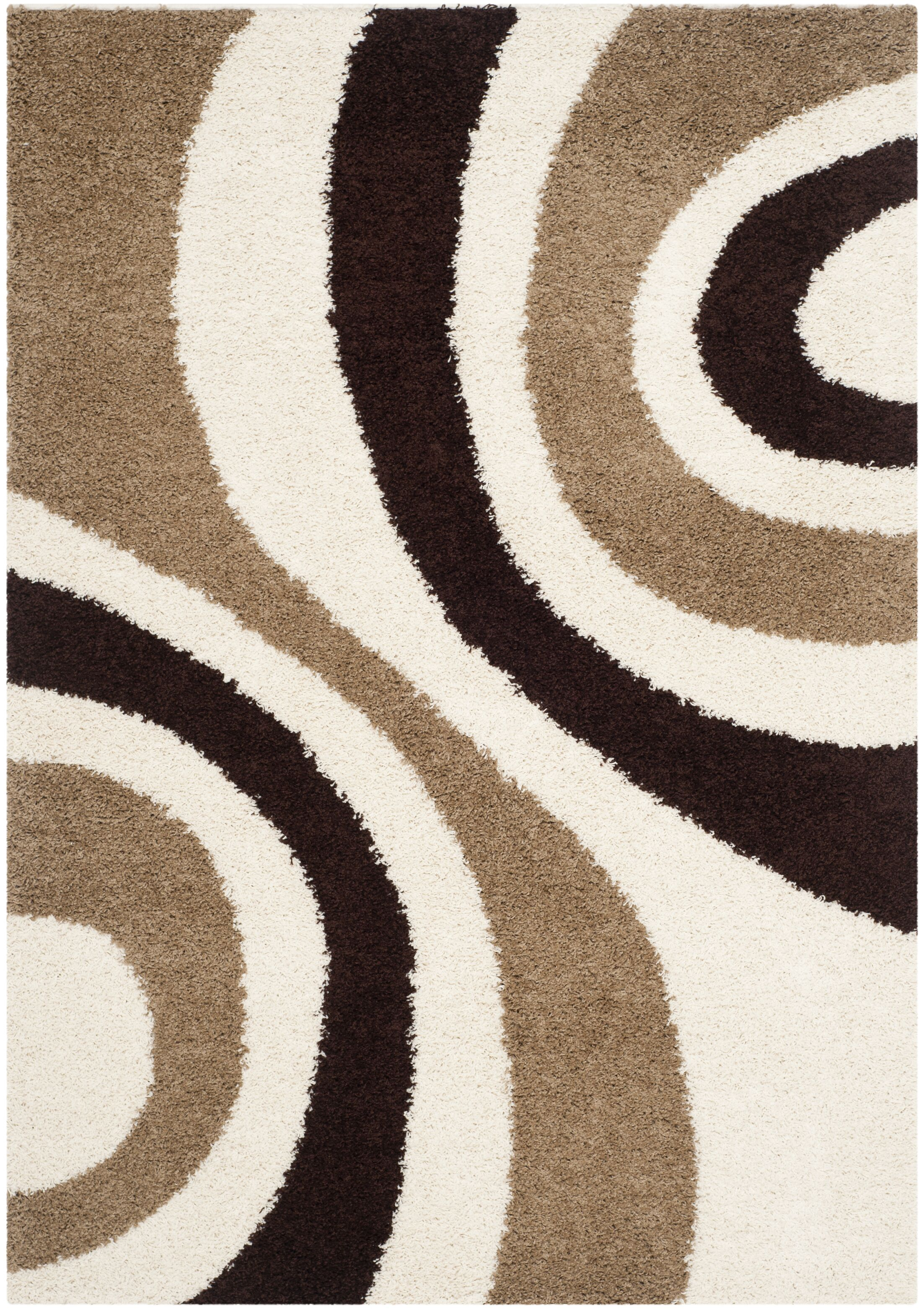 Swanson Ivory/Brown Contemporary Area Rug Rug Size: Rectangle 5'3