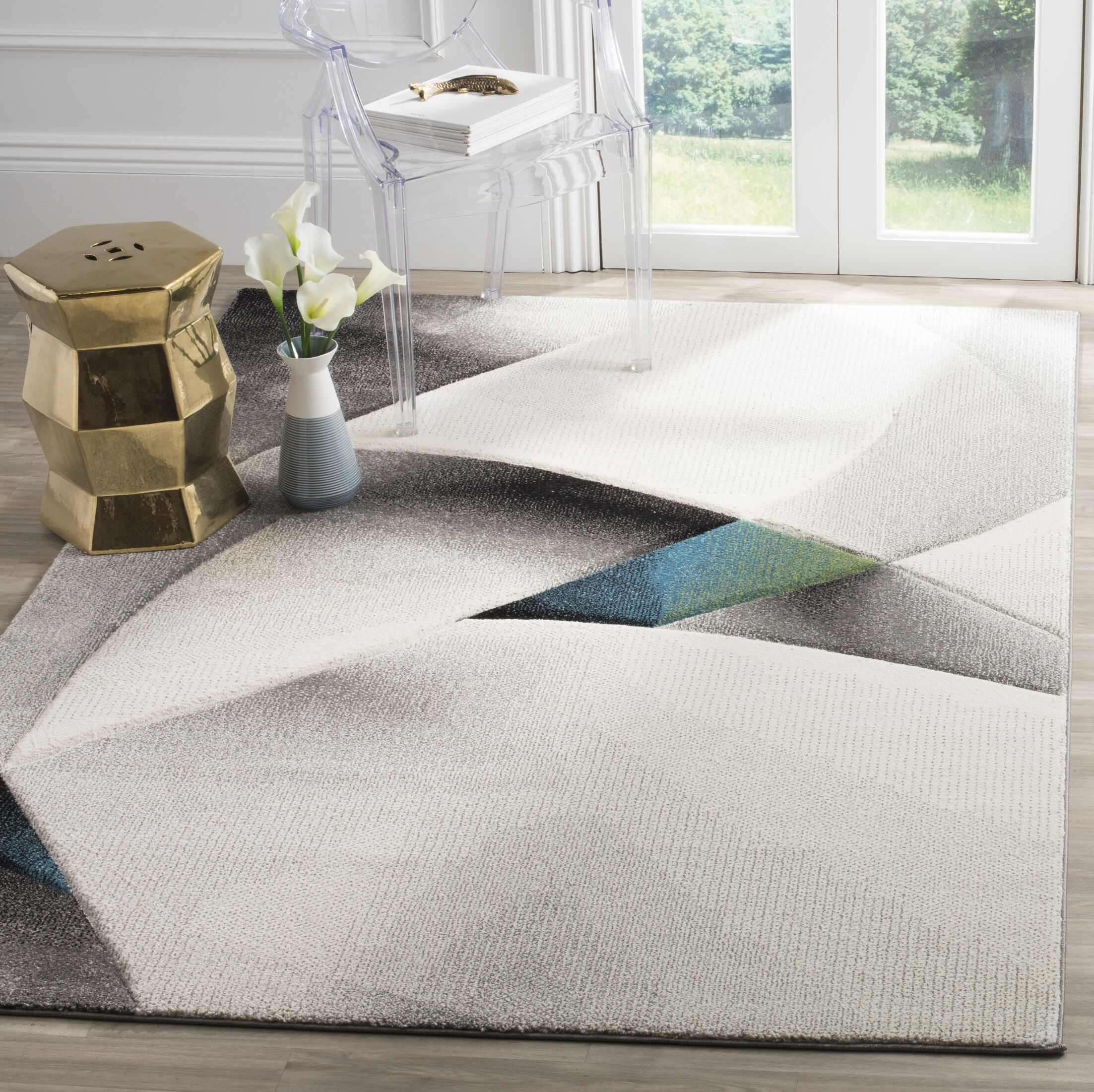 Anne Abstract Power Loomed Gray/Teal Area Rug Rug Size: Round 5'3